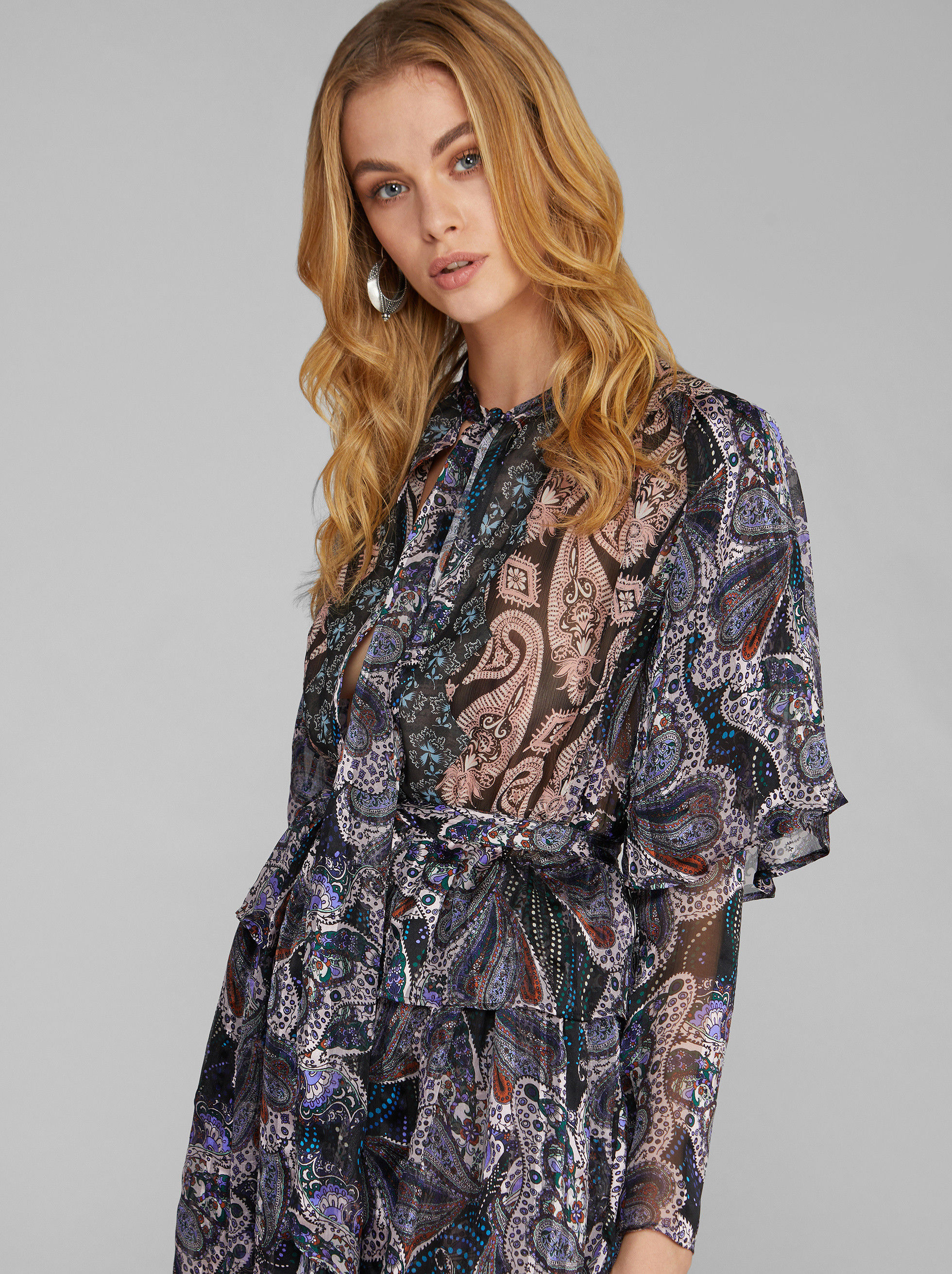 BLUSE MIT PATCHWORK-PAISLEYPRINT