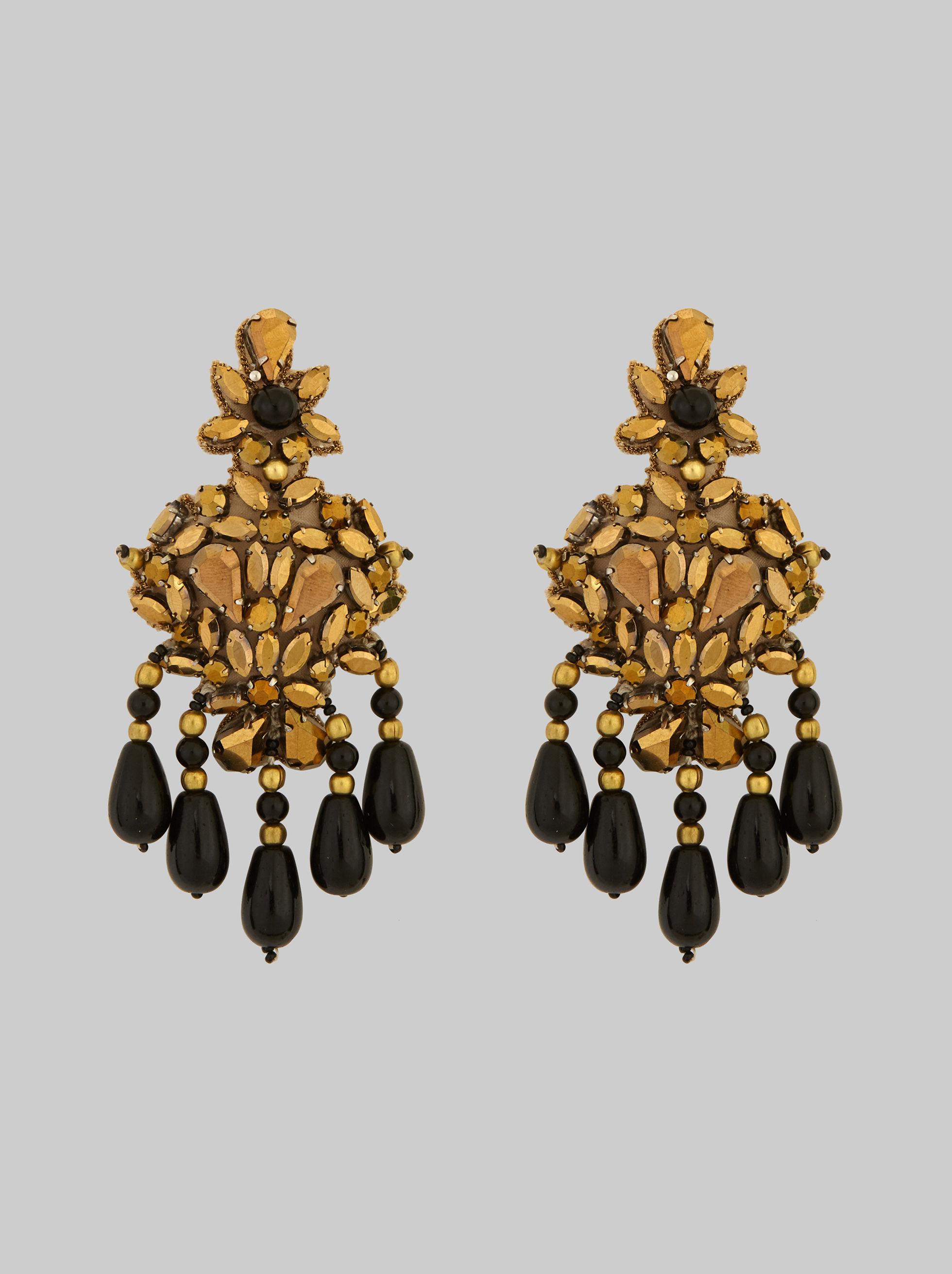 EARRINGS WITH EMBROIDERED FLOWERS