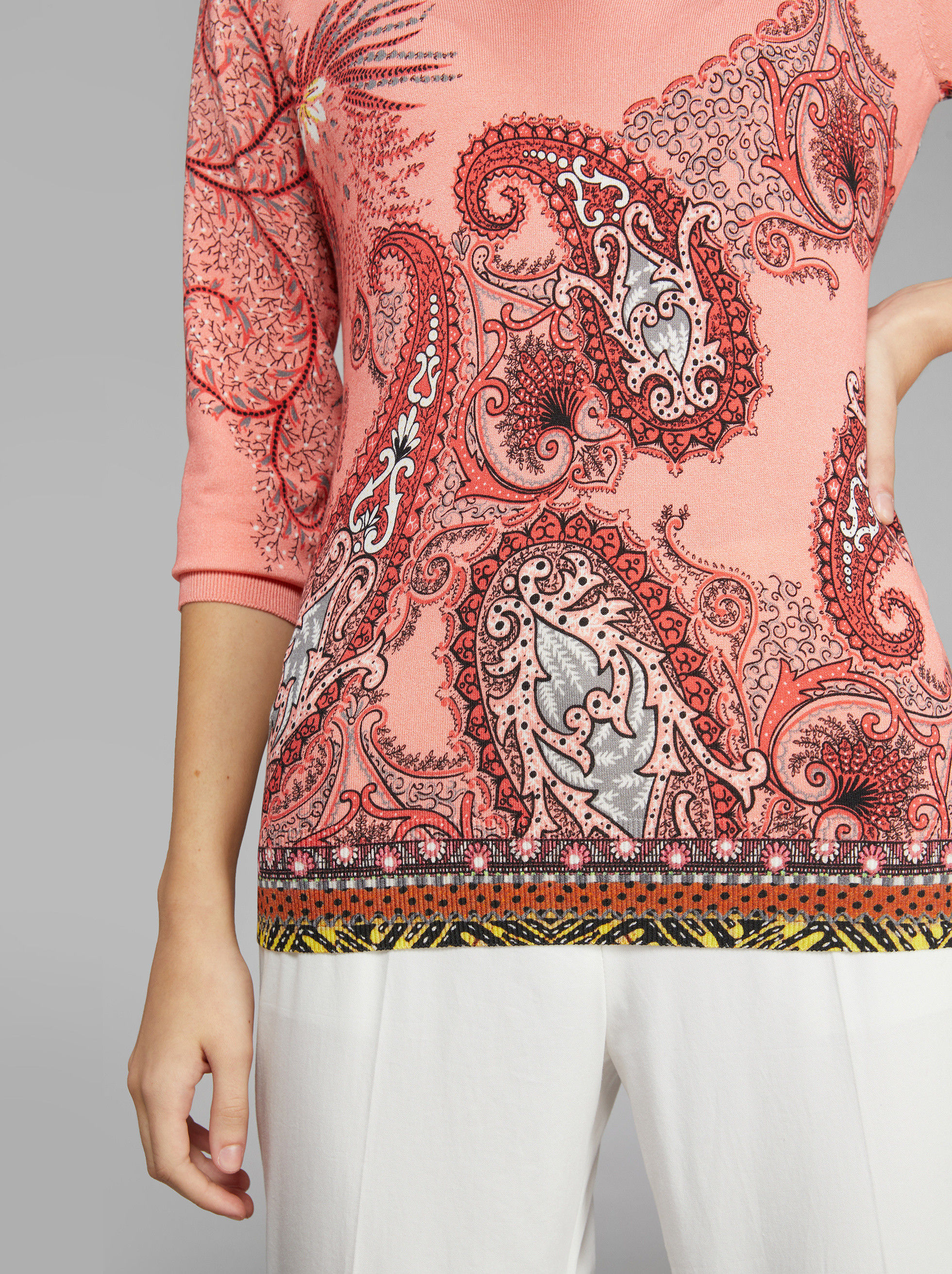 PAISLEY PATTERN SILK JUMPER