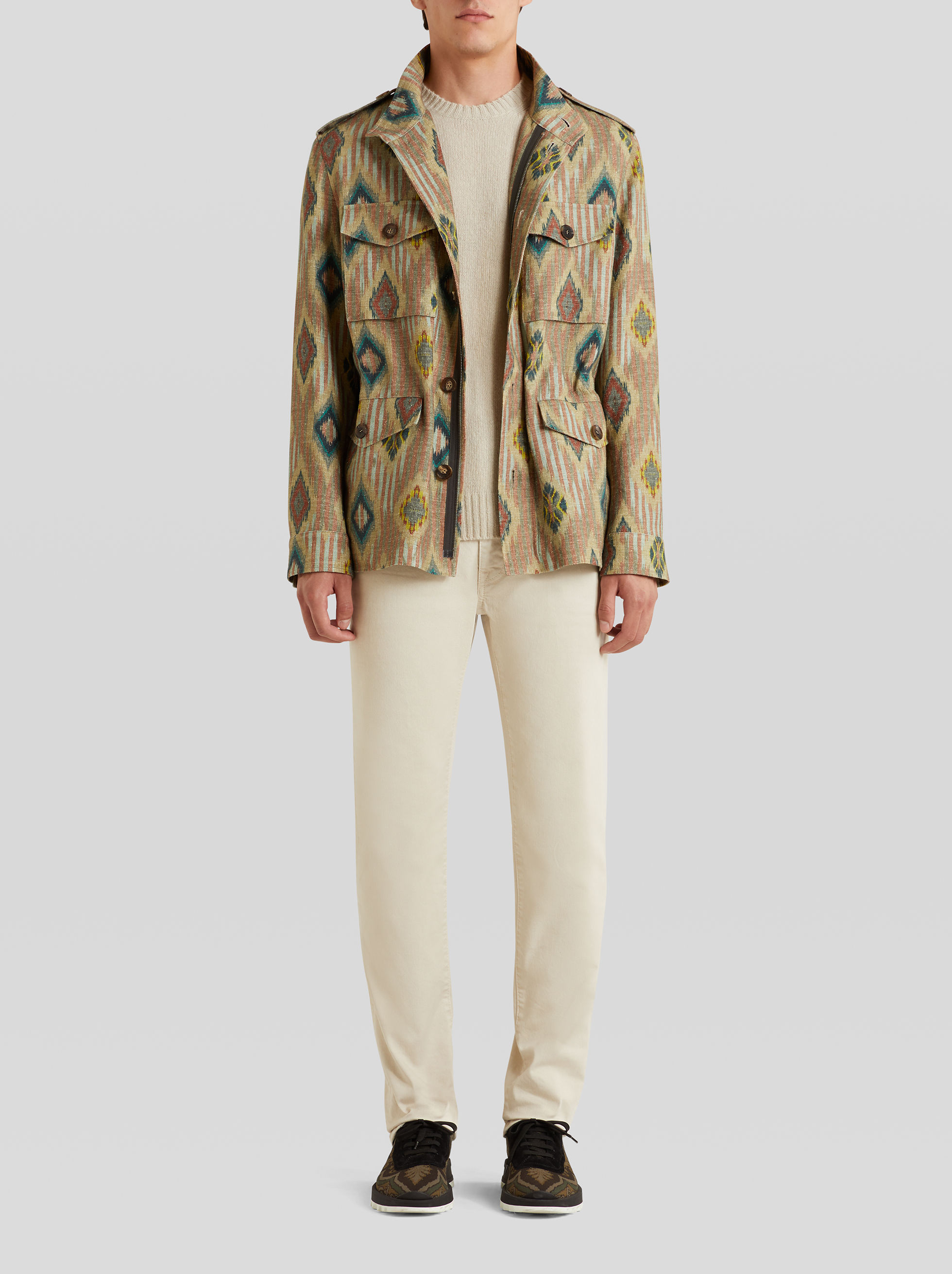 GEOMETRIC DESIGN SAFARI JACKET