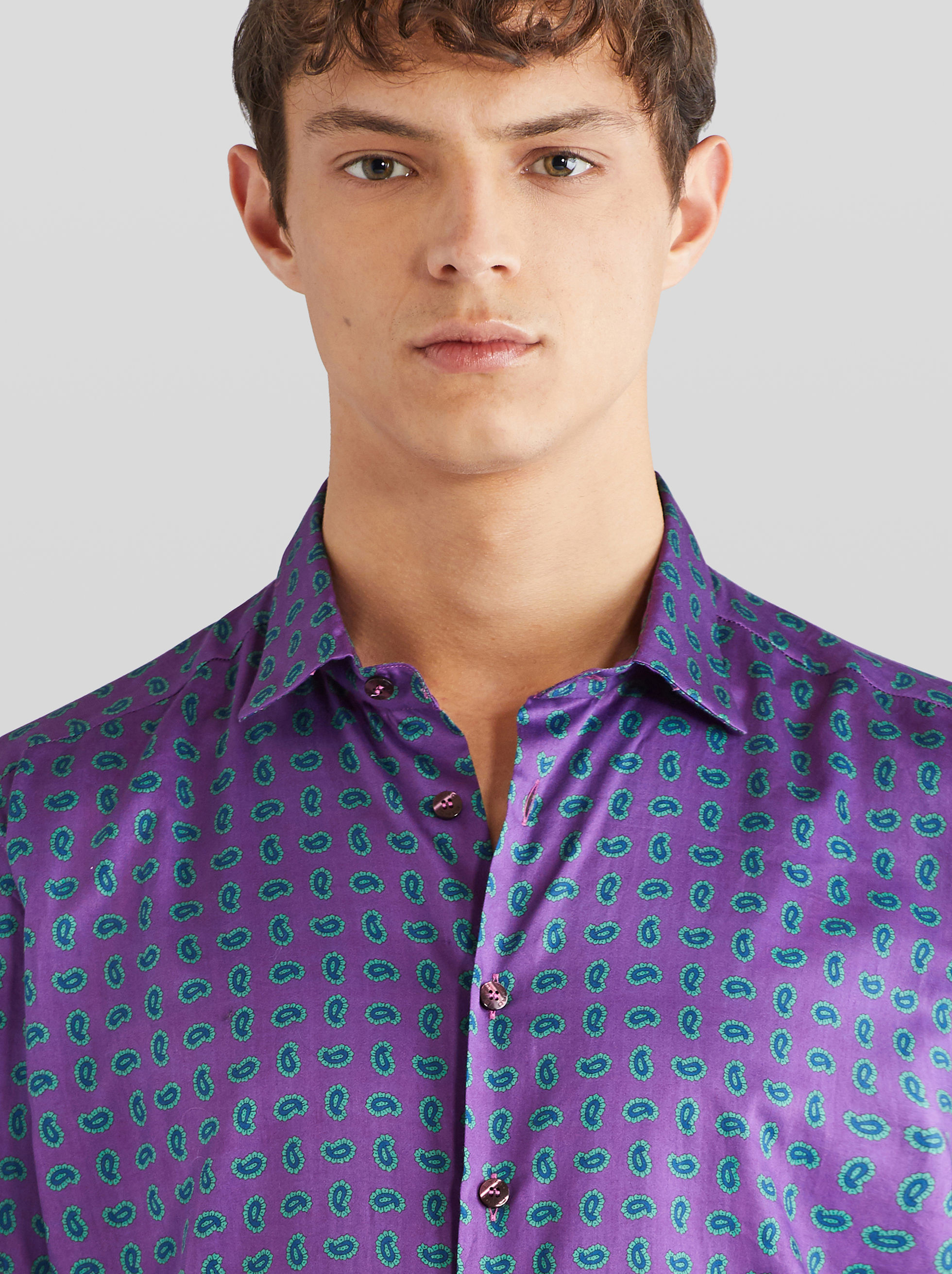 COTTON SHIRT WITH MICRO PAISLEY