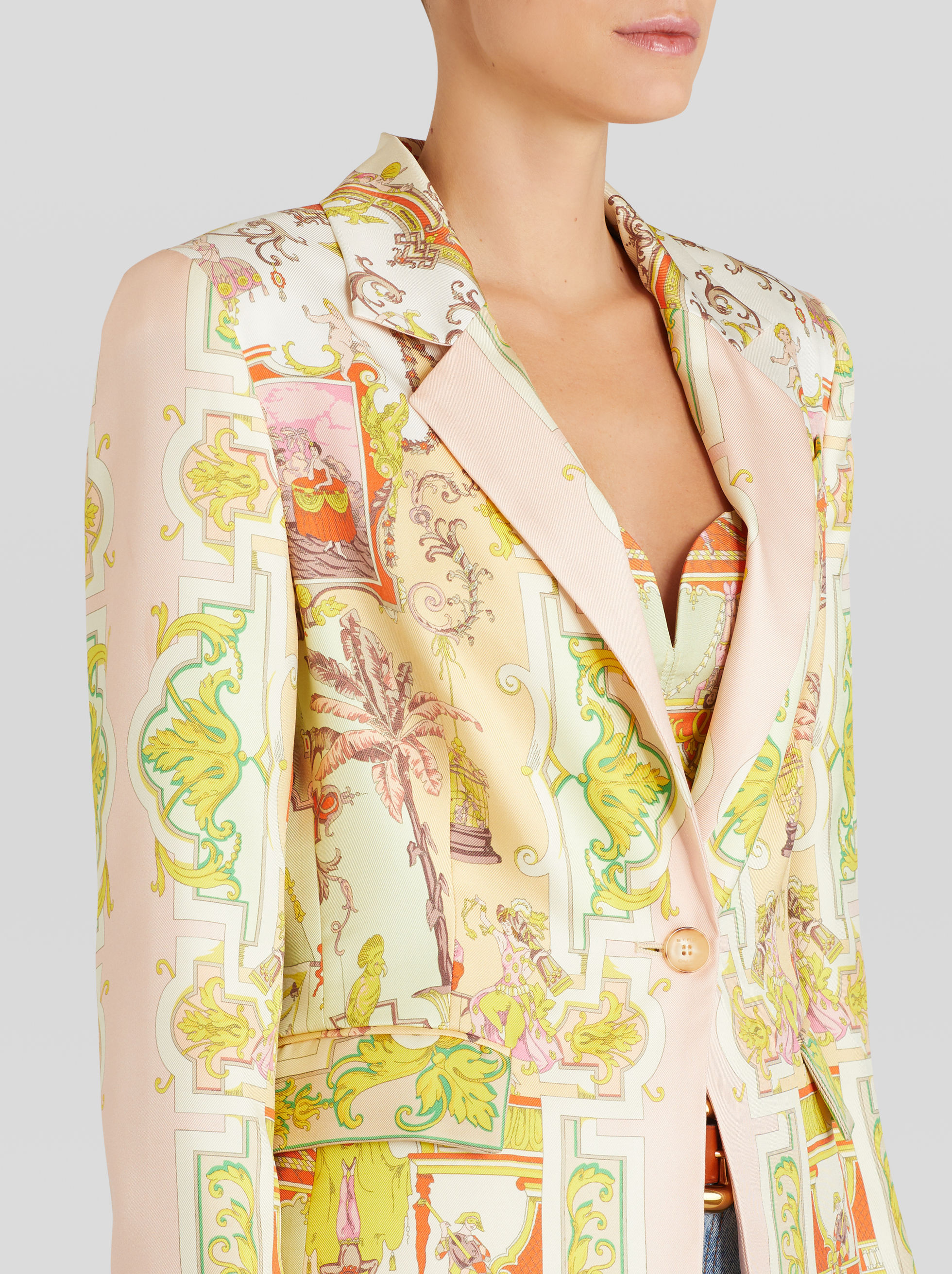 SILK JACKET WITH PLACED PRINT