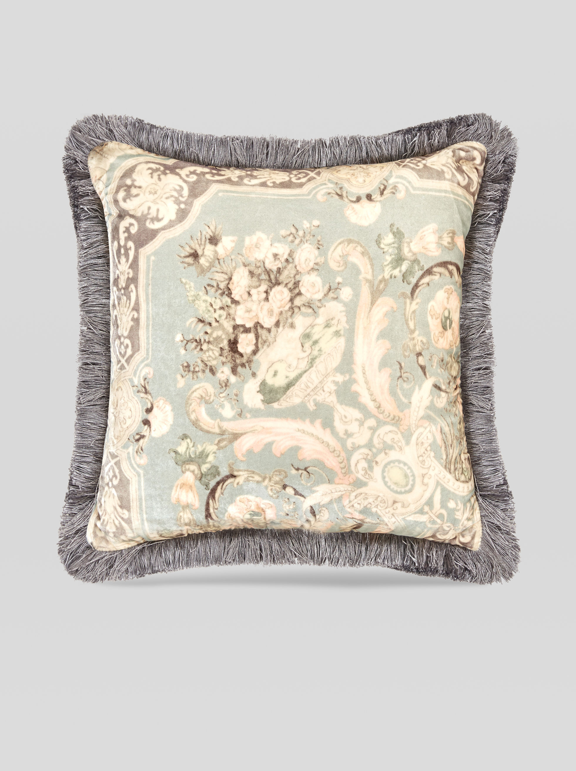 SILK VELVET CUSHION WITH ORNAMENTAL PRINT