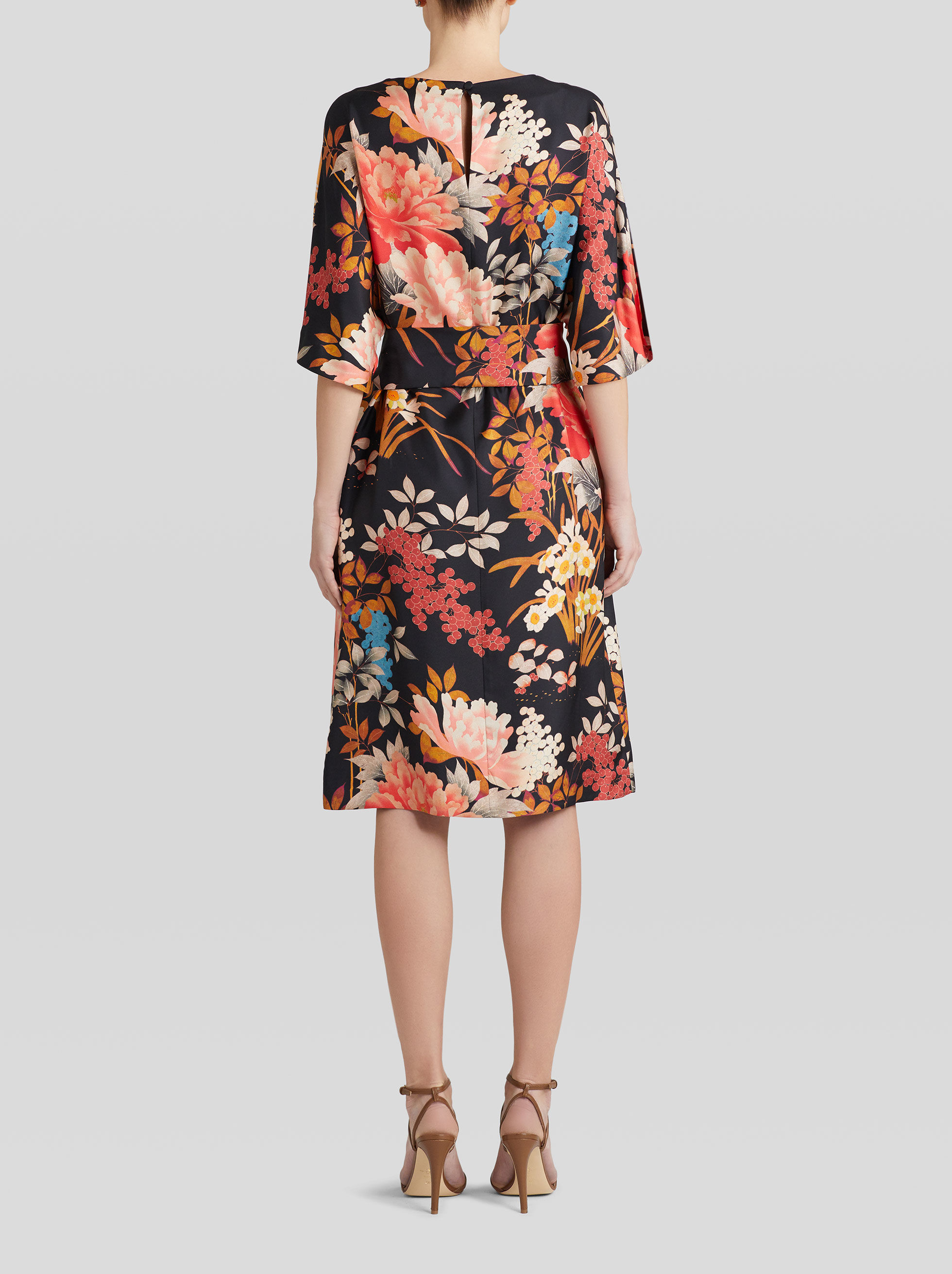 TIGER AND WATER LILY PRINT SILK DRESS
