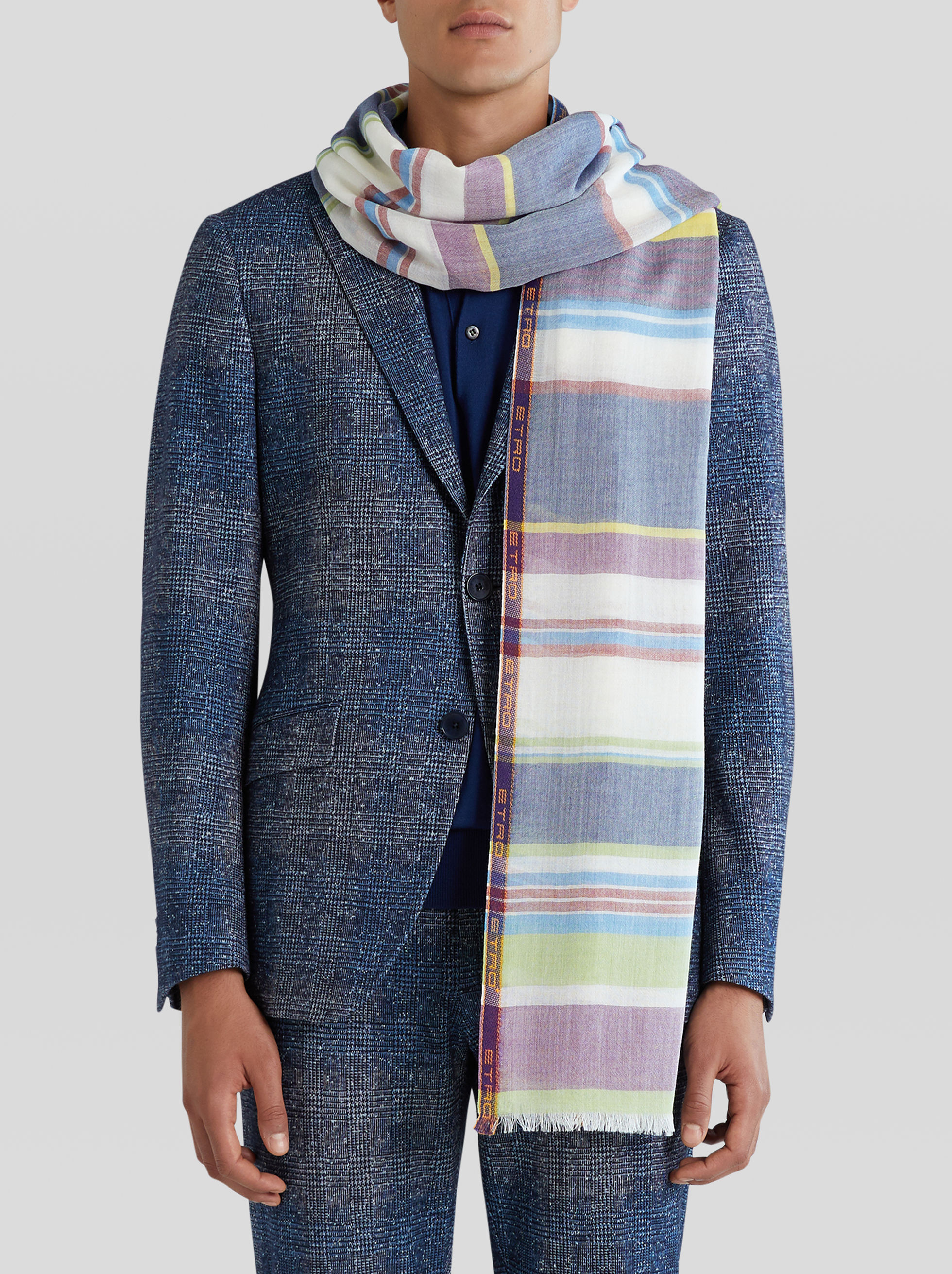 JACQUARD STRIPED SELVEDGED SCARF