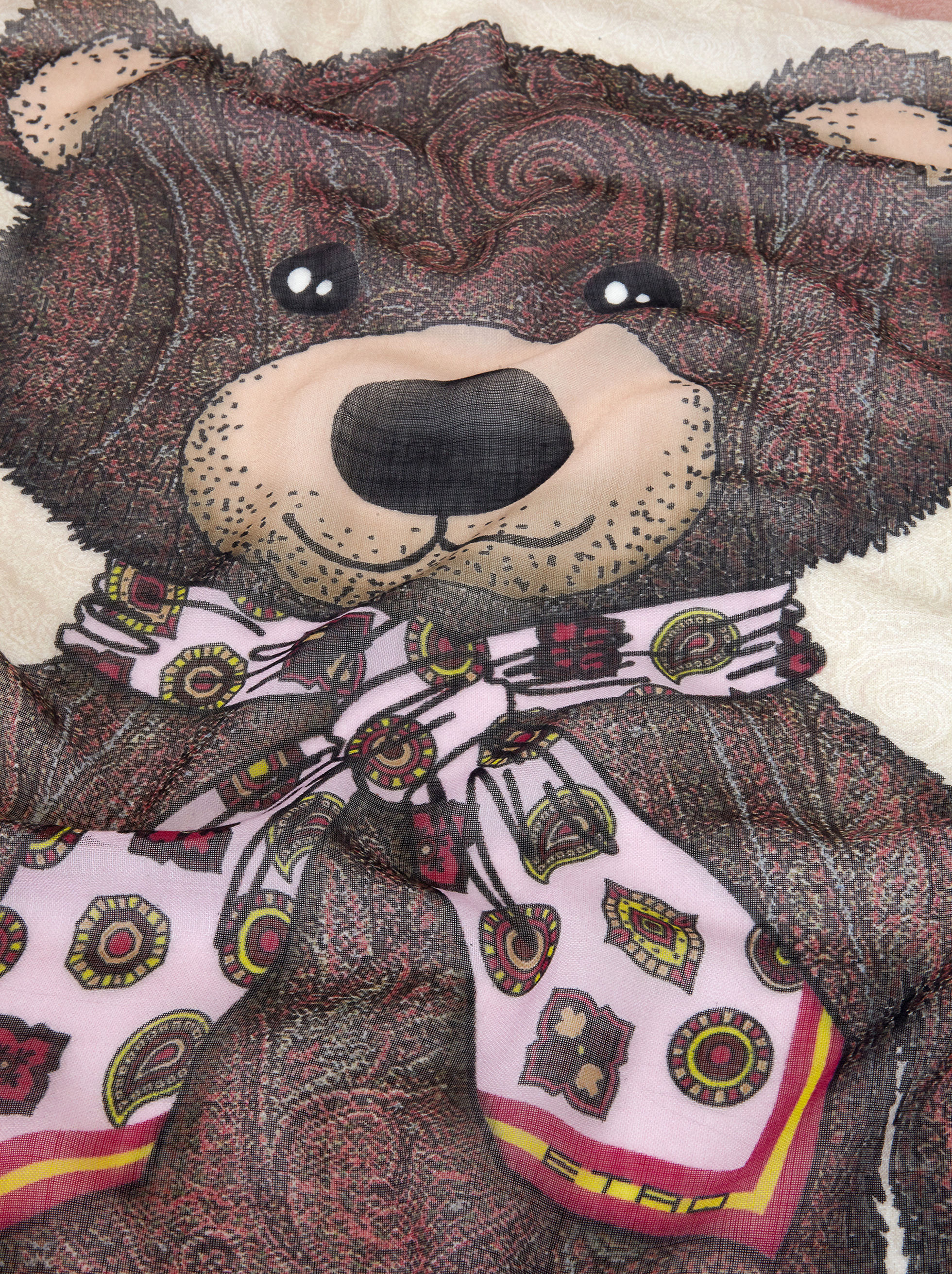 CASHMERE SHAWL WITH PAISLEY TEDDY BEAR