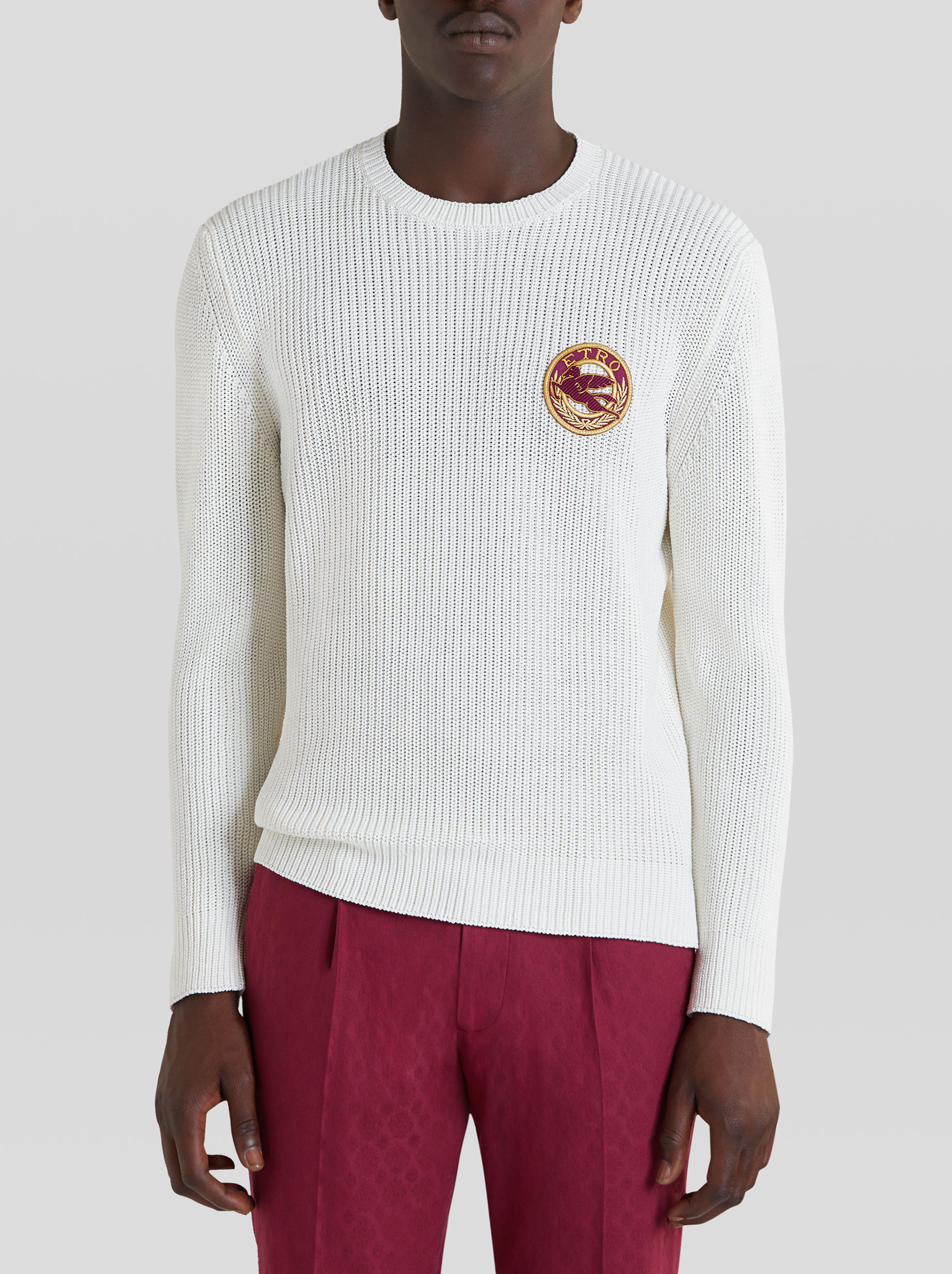 RIBBED COTTON JUMPER WITH PEGASO