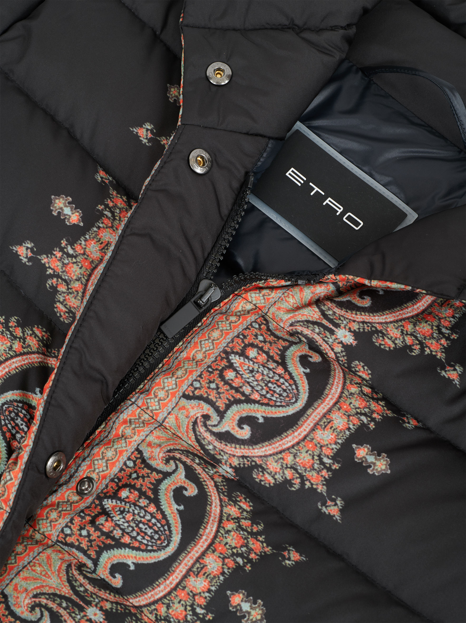 STRIPED PAISLEY PRINT DOWN JACKET
