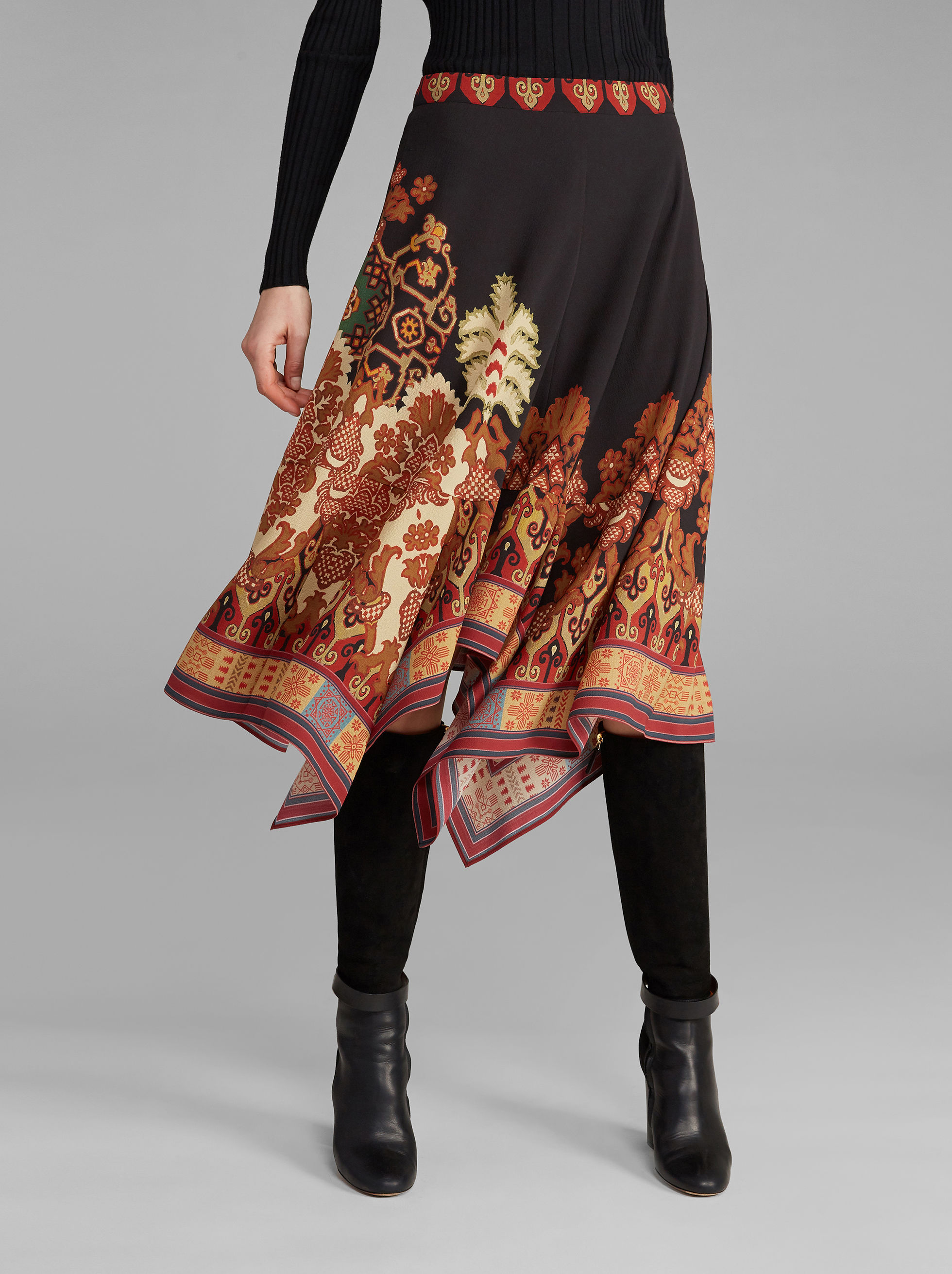 CARPET-PRINT ASYMMETRICAL SKIRT