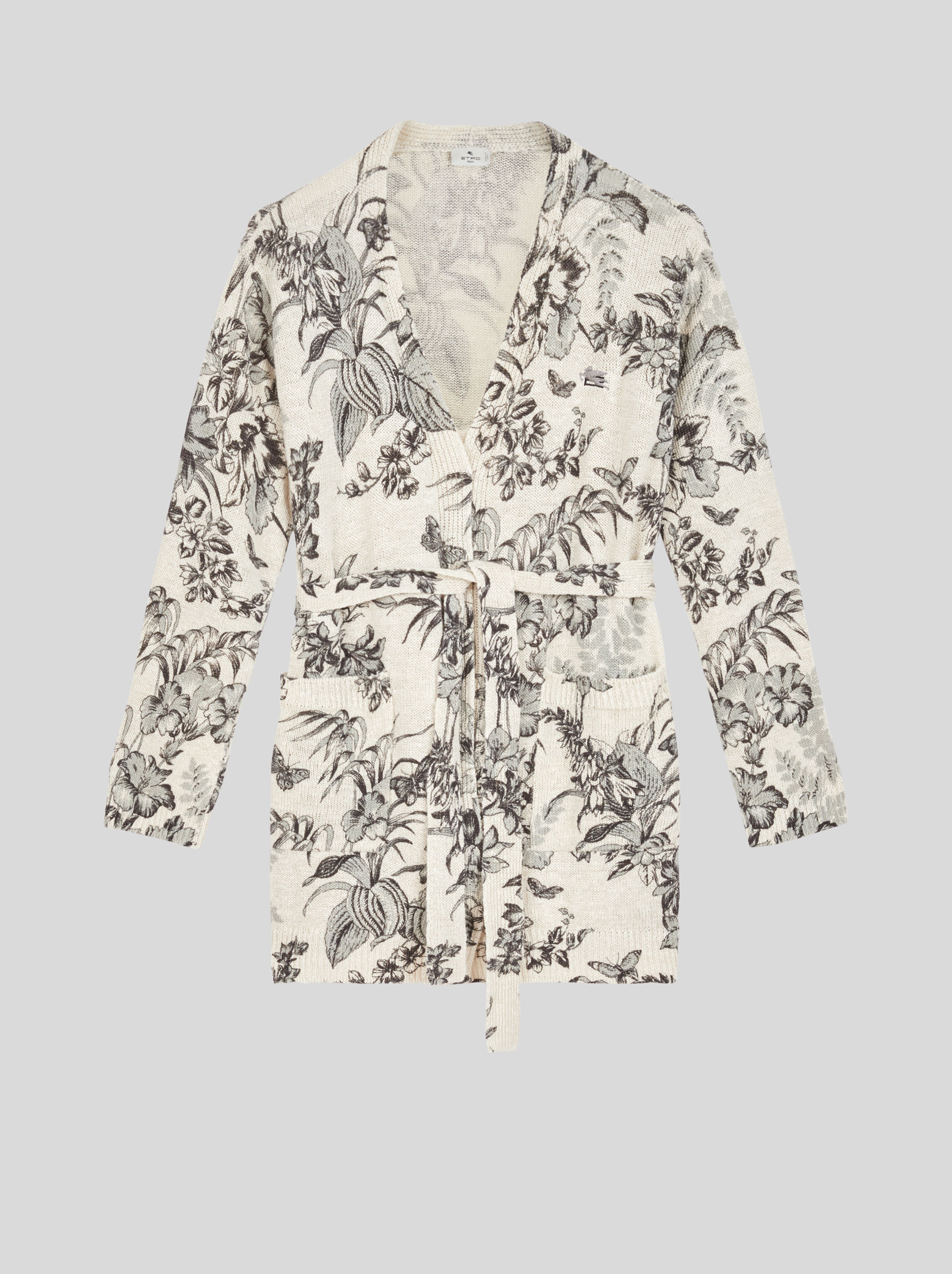 CARDIGAN WITH LEAF AND BUTTERFLY PRINT