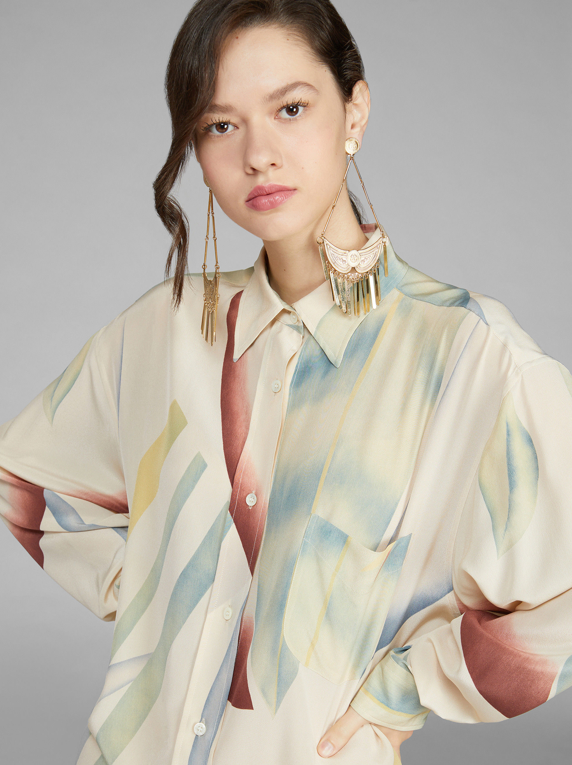ABSTRACT BLURRED FOLIAGE SHIRT