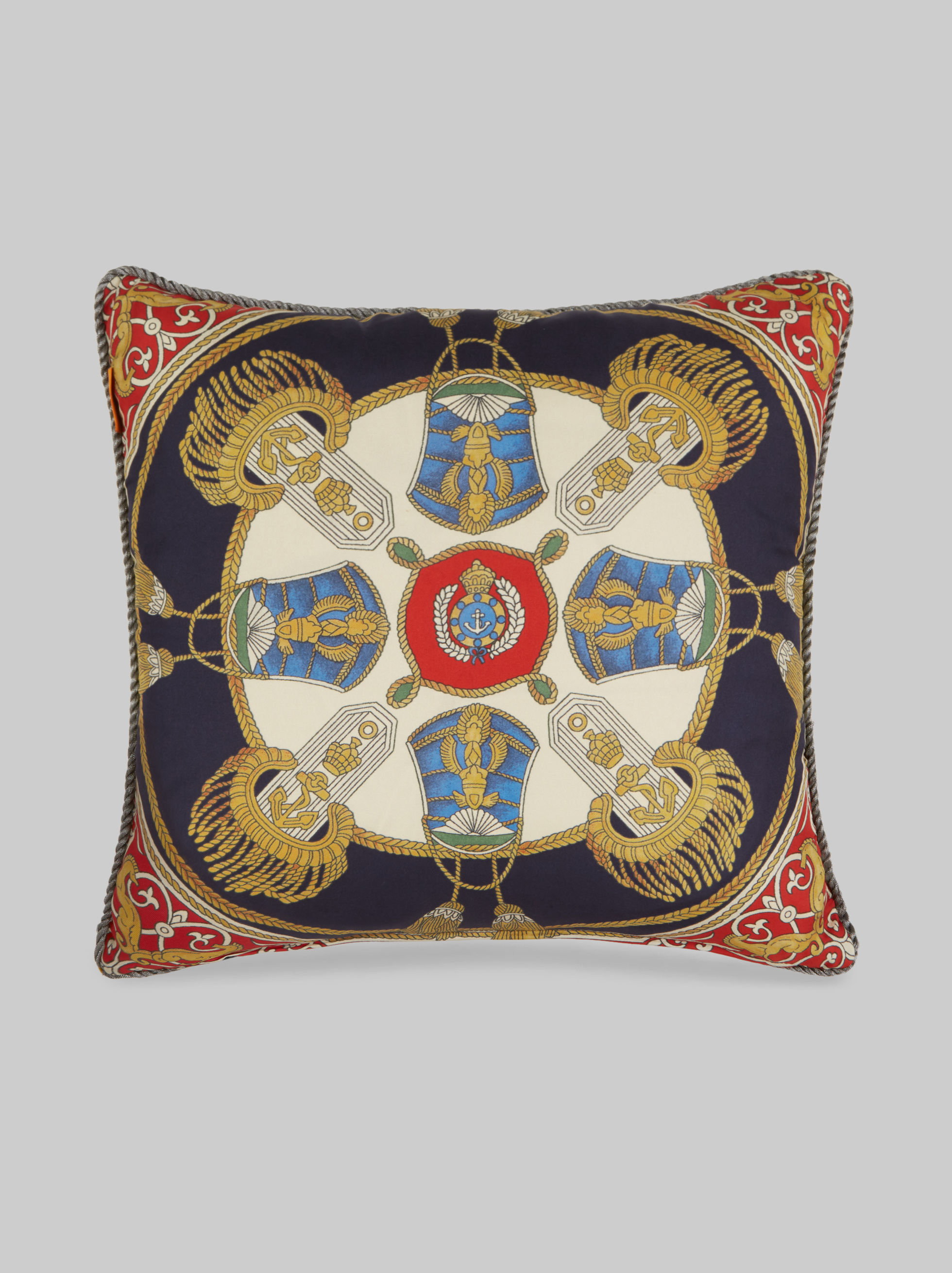 SILK CUSHION WITH ARCHIVE POCKET SQUARE PRINT