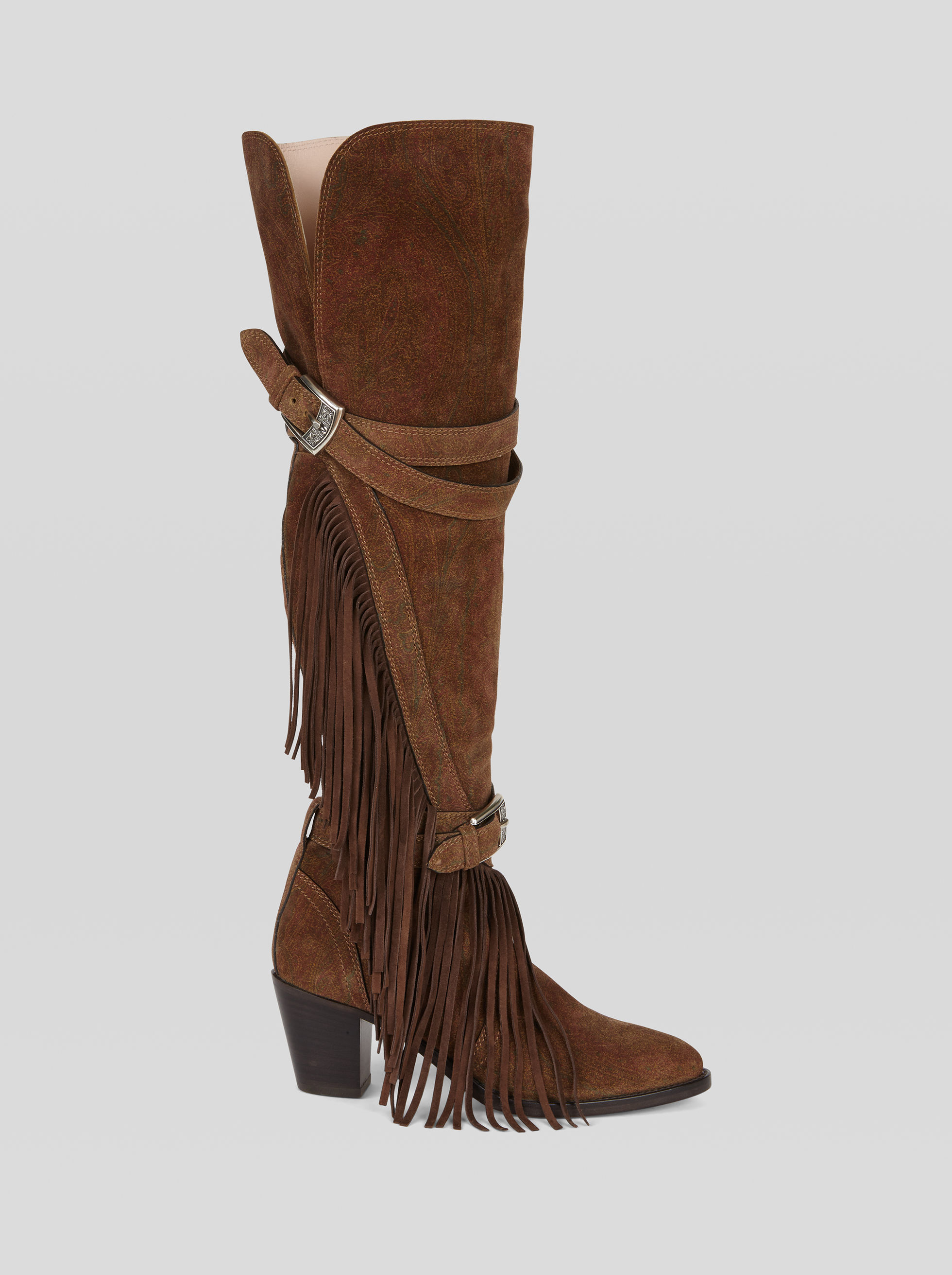 Etro SUEDE BOOTS WITH PAISLEY PRINT