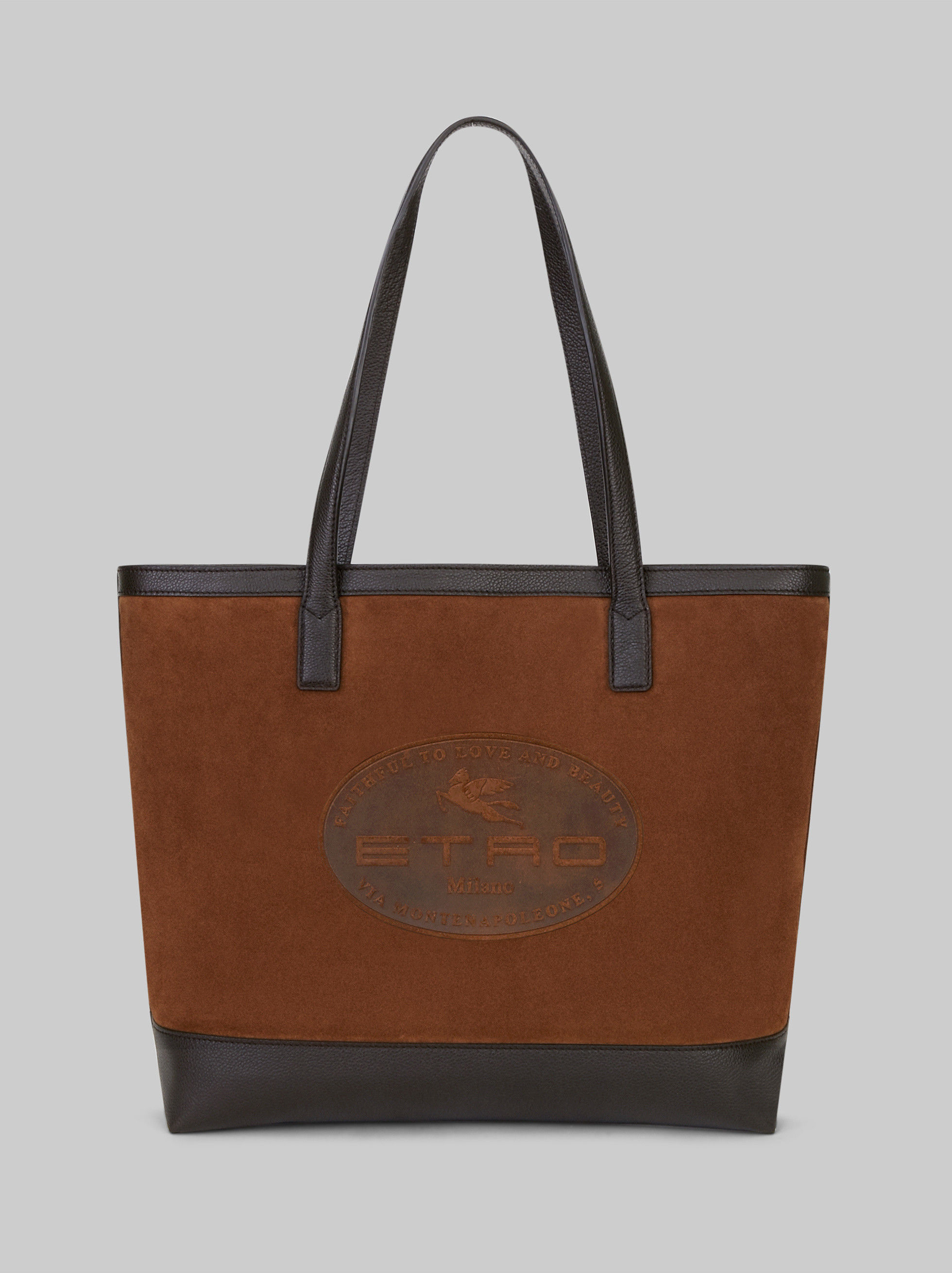 SPLIT LEATHER BAG WITH EMBOSSED LOGO