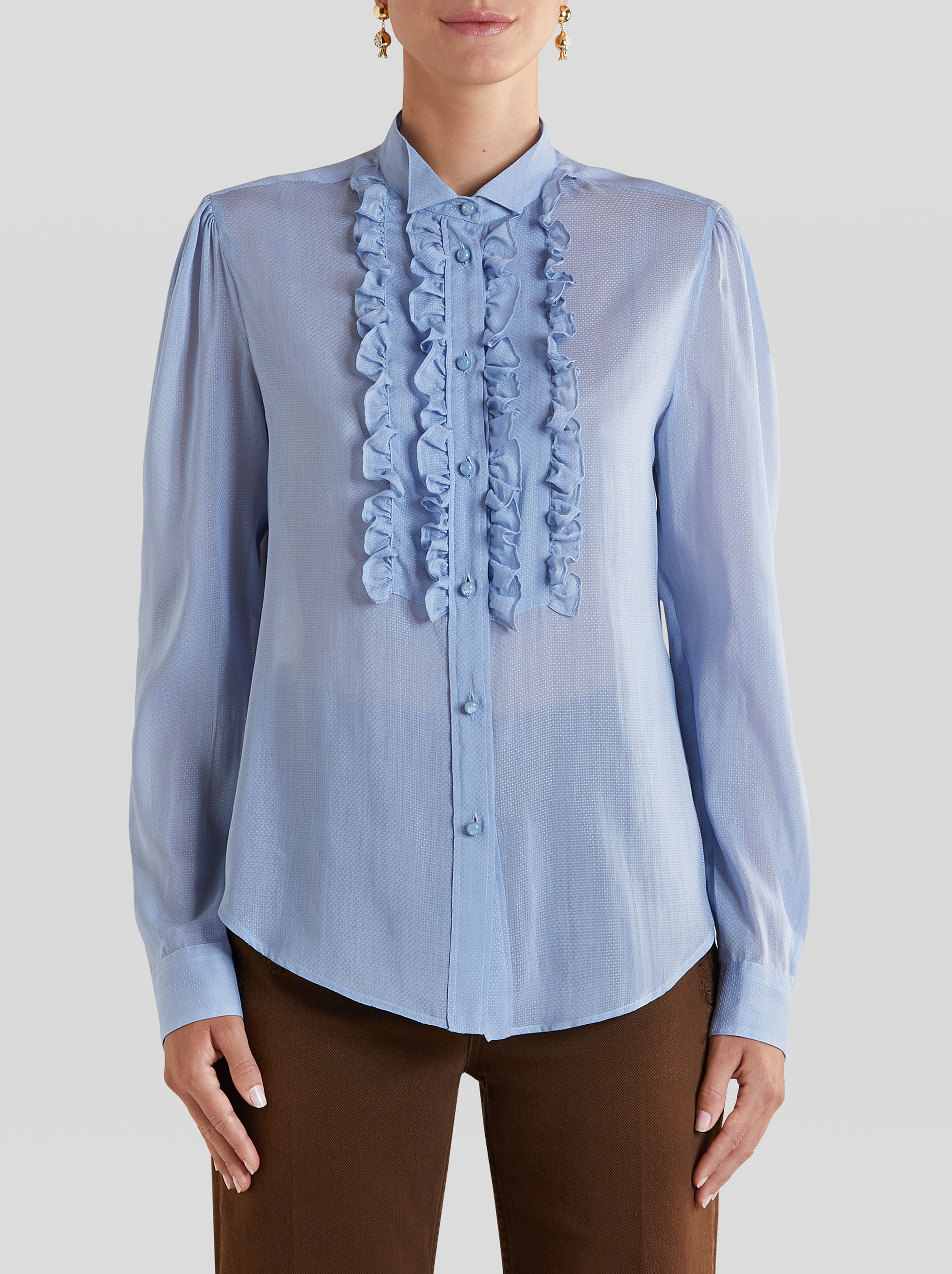 SILK AND COTTON SHIRT WITH RUCHES