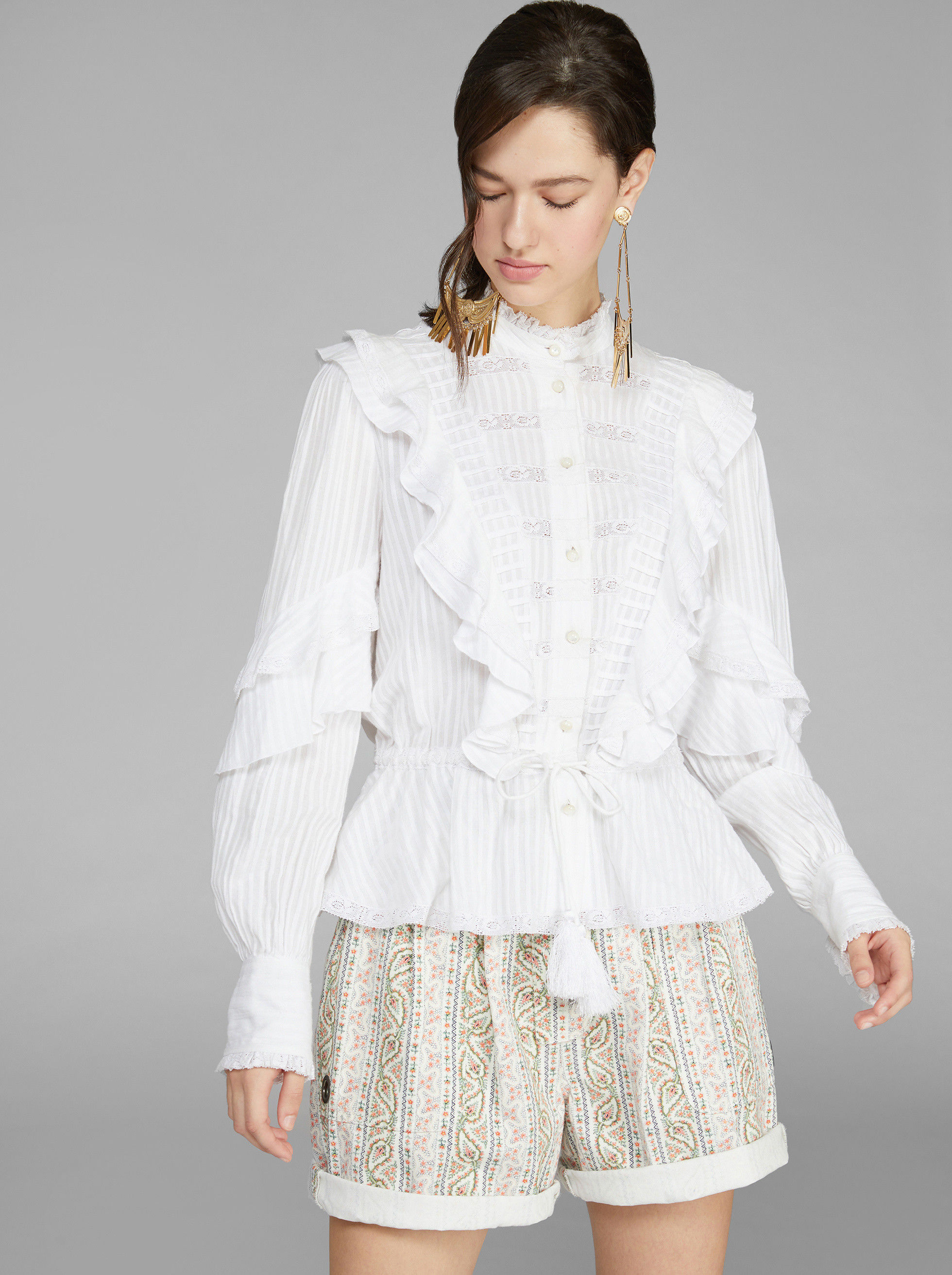 SHIRT IN LACE WITH DOTS AND RUCHES