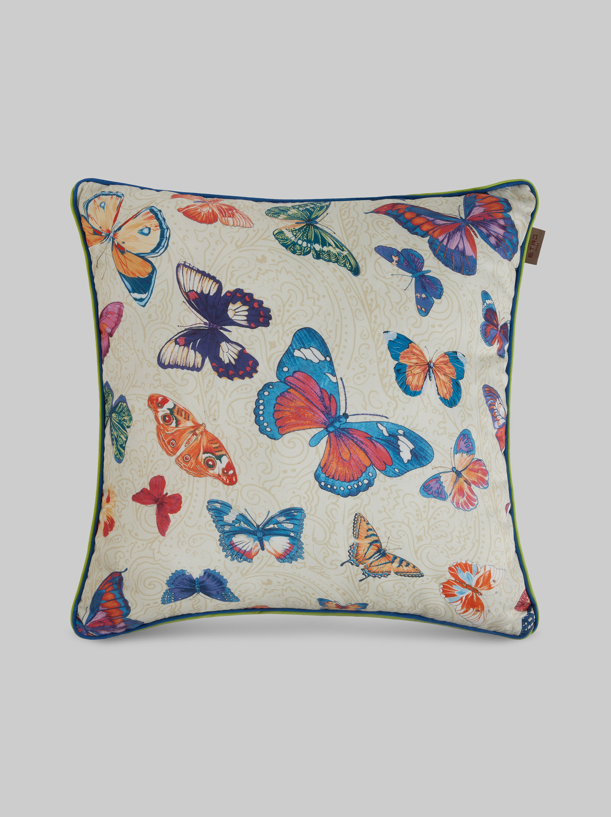 BUTTERFLY PRINT SATIN CUSHION