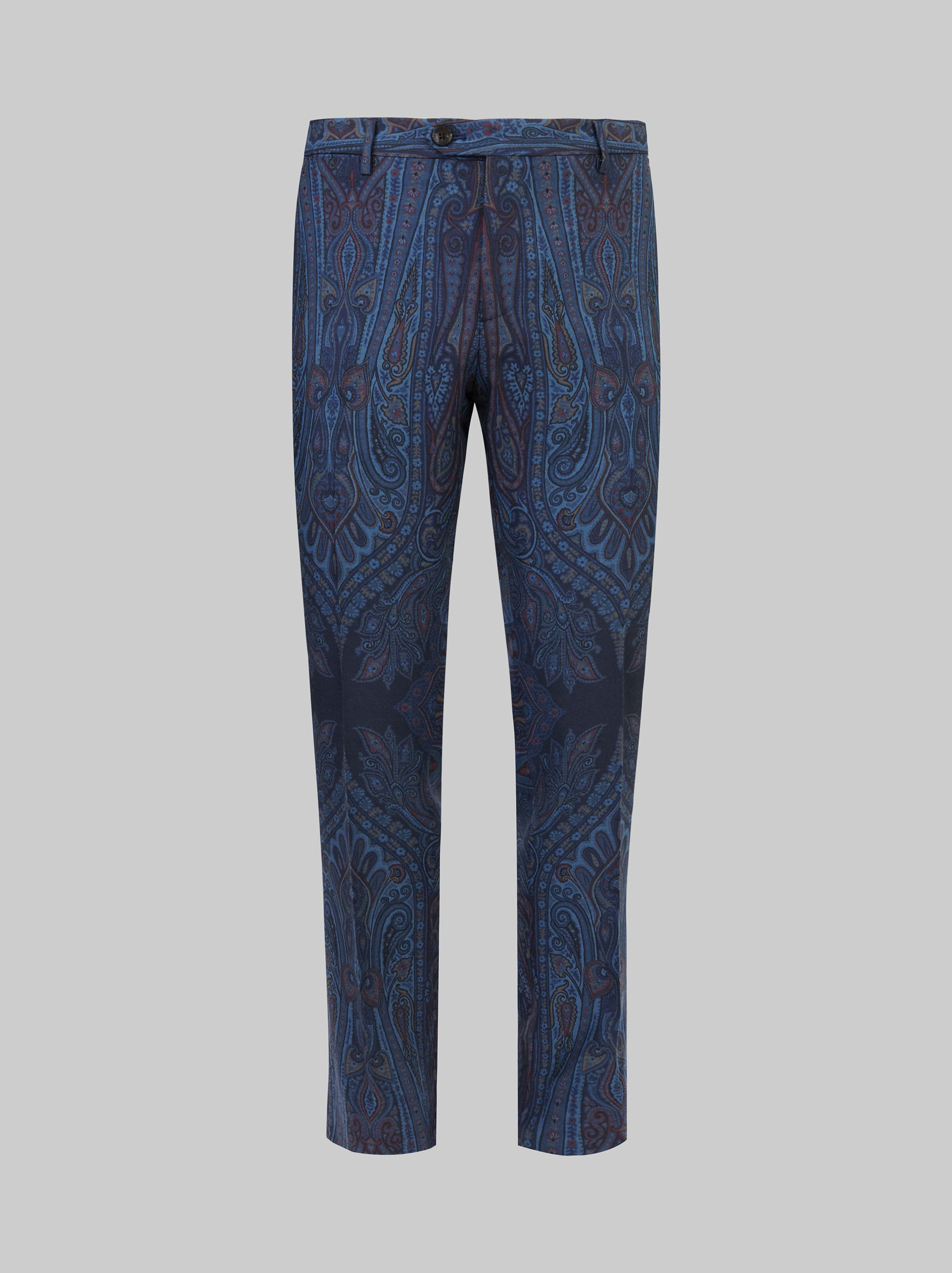 PAISLEY PRINT WOOL TAILORED PANTS