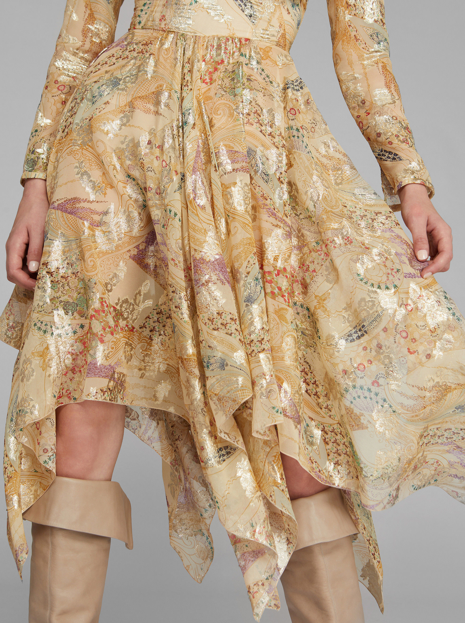 SILK AND LUREX DRESS WITH PAISLEY PRINT