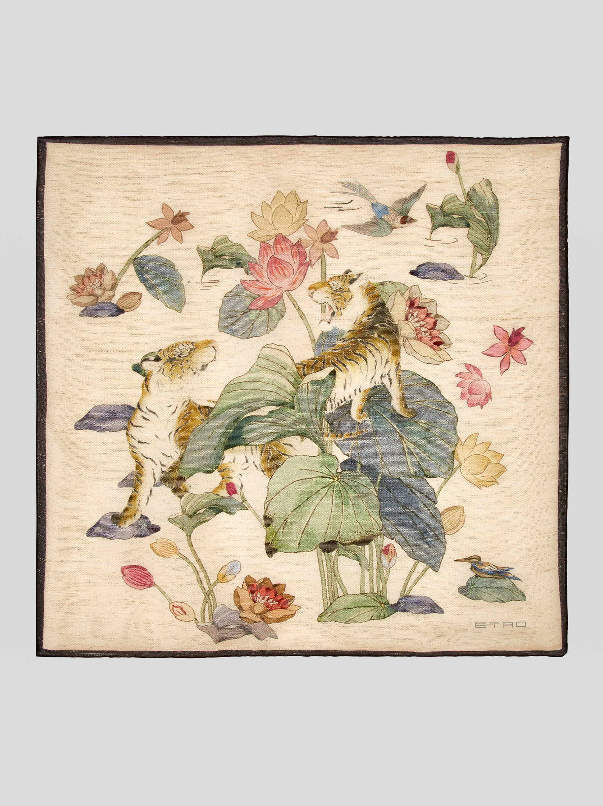 WATER LILY AND TIGER POCKET SQUARE