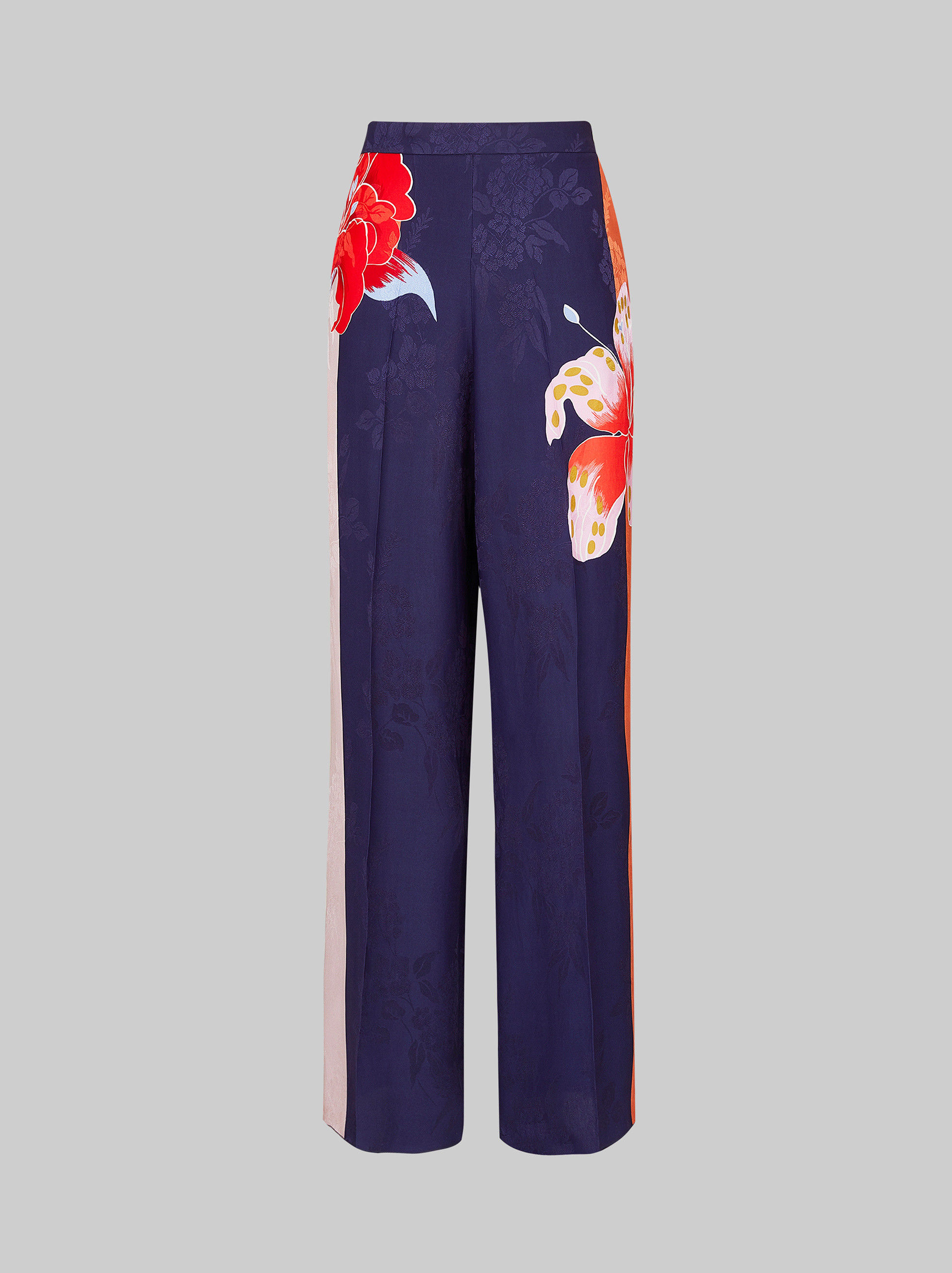 FLORAL JACQUARD PALAZZO TROUSERS