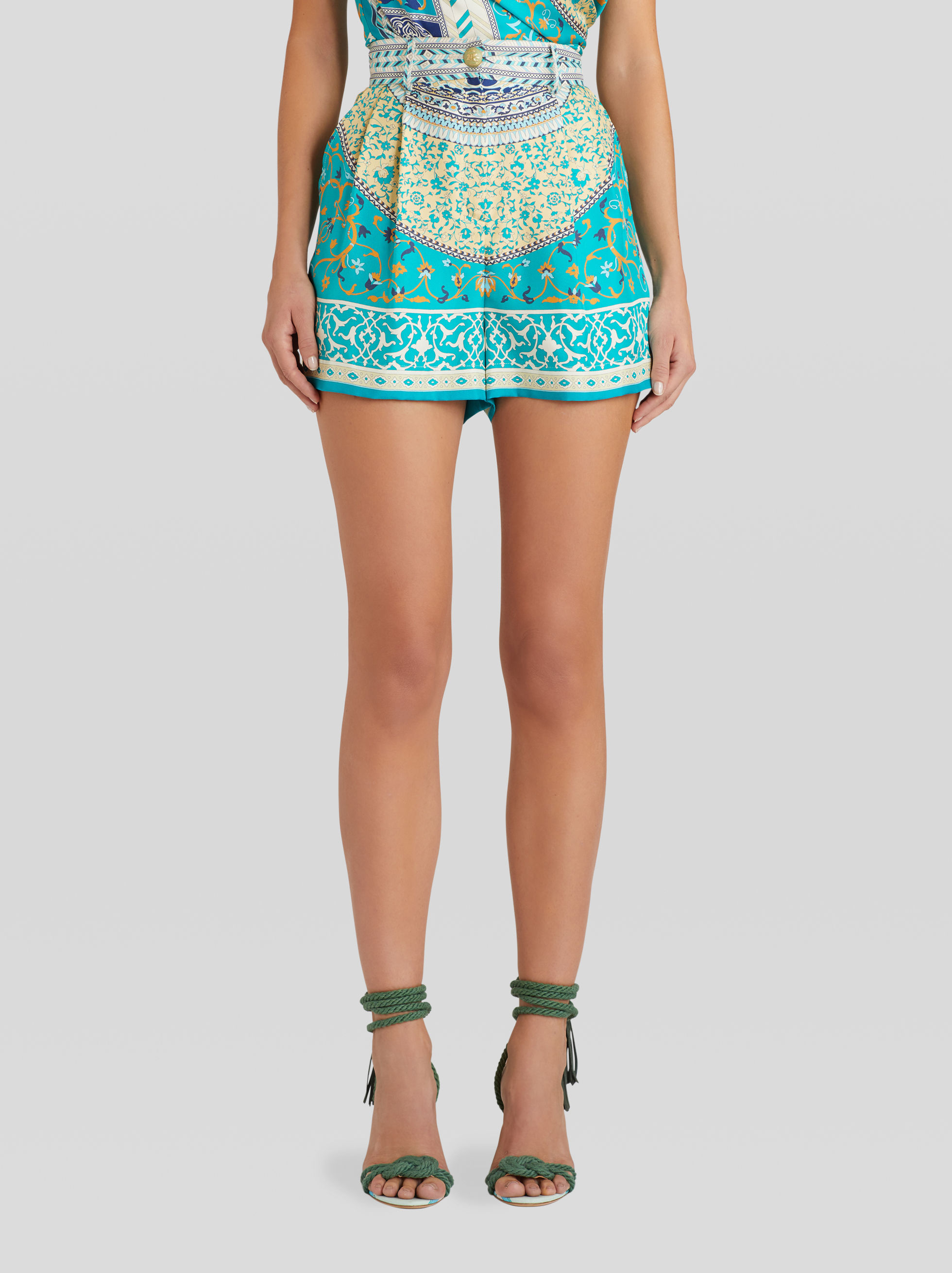 FLORAL PATCHWORK PRINT SILK SHORTS