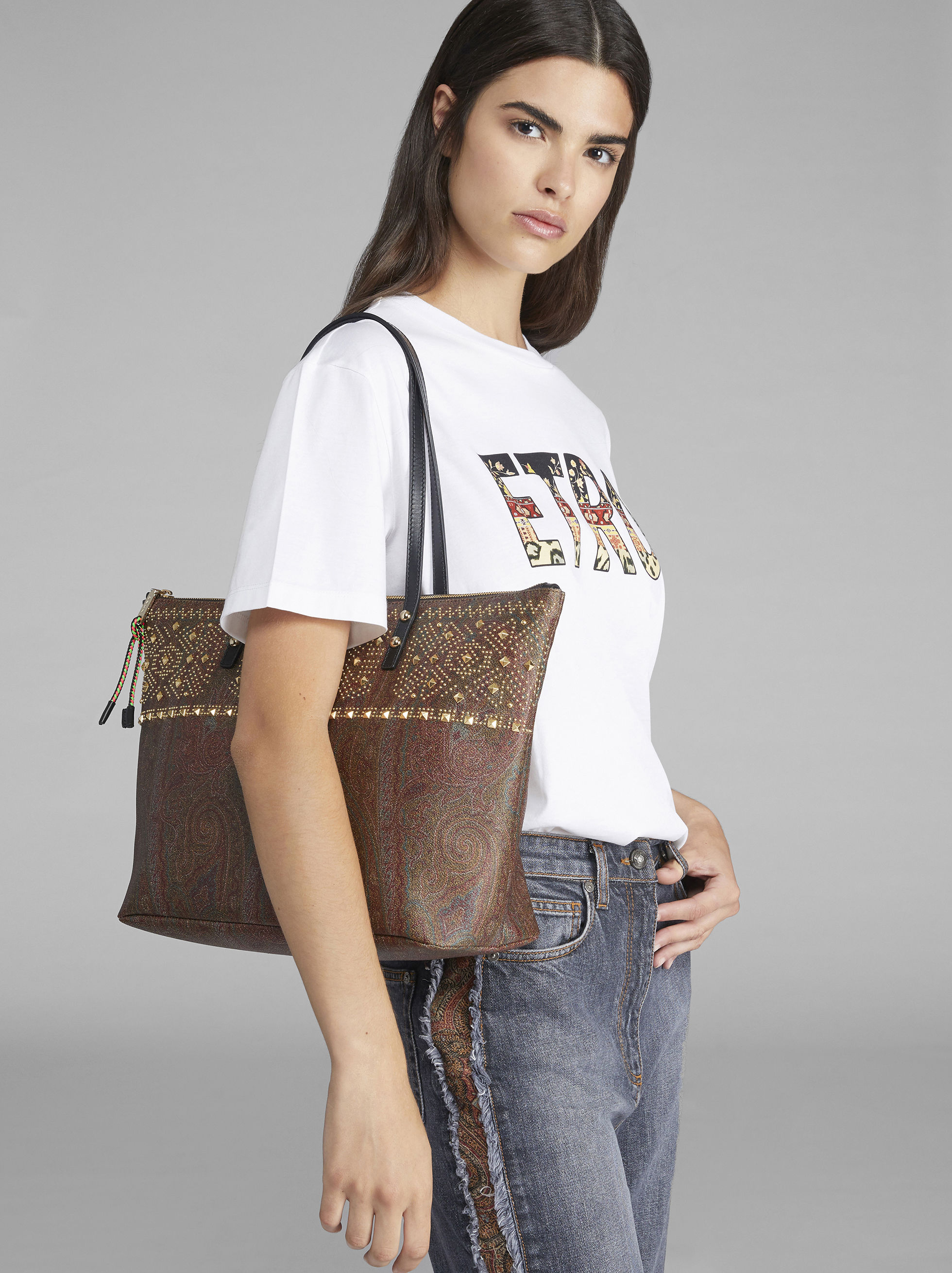 STUDDED PAISLEY SHOPPER BAG