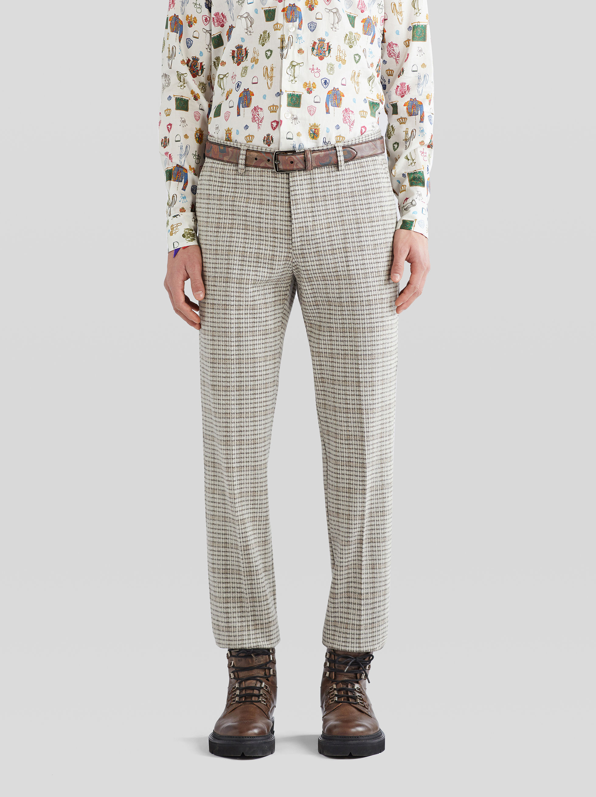 CHECKED JERSEY TROUSERS