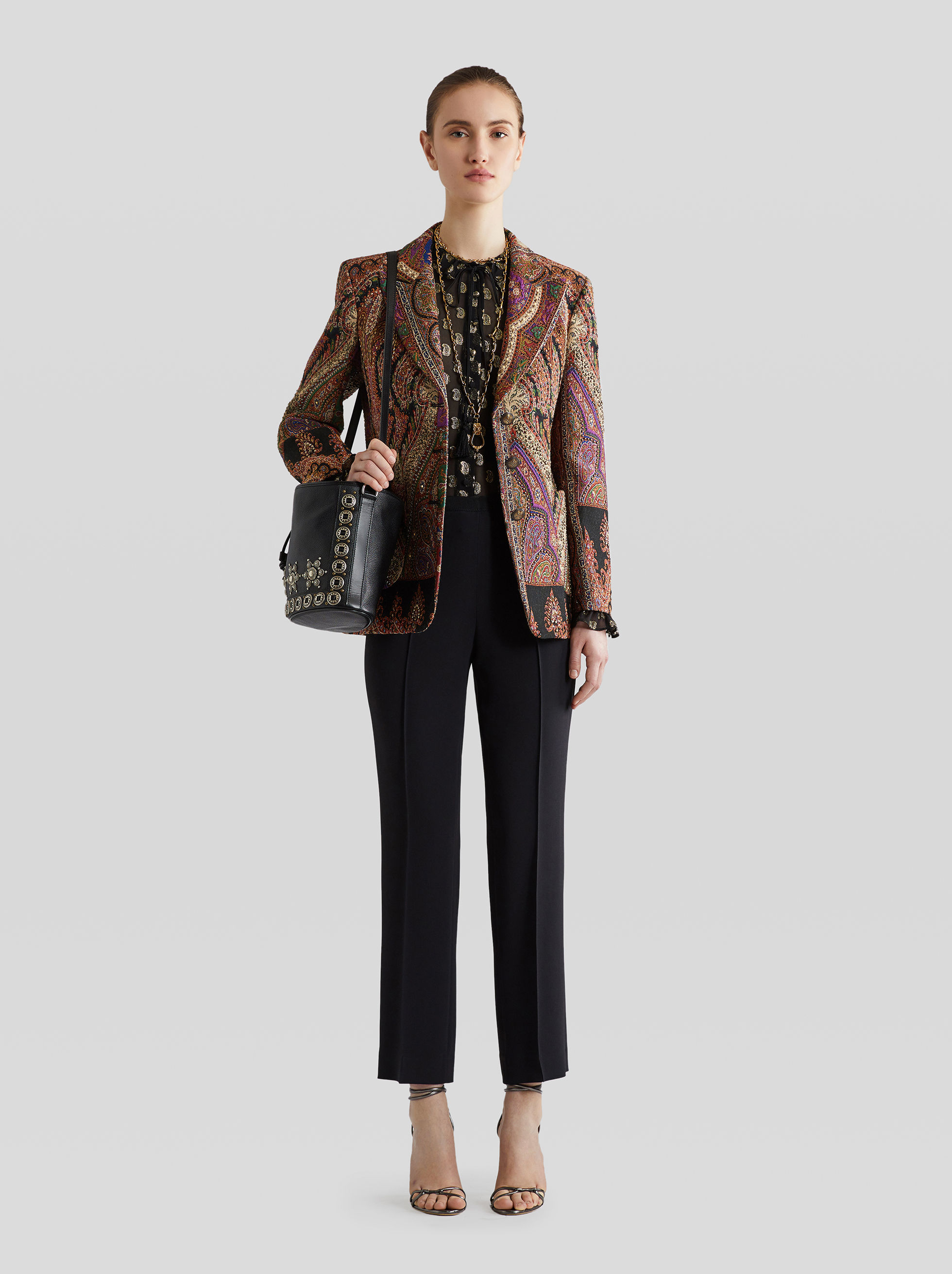 PATCHWORK JACQUARD TAILORED JACKET