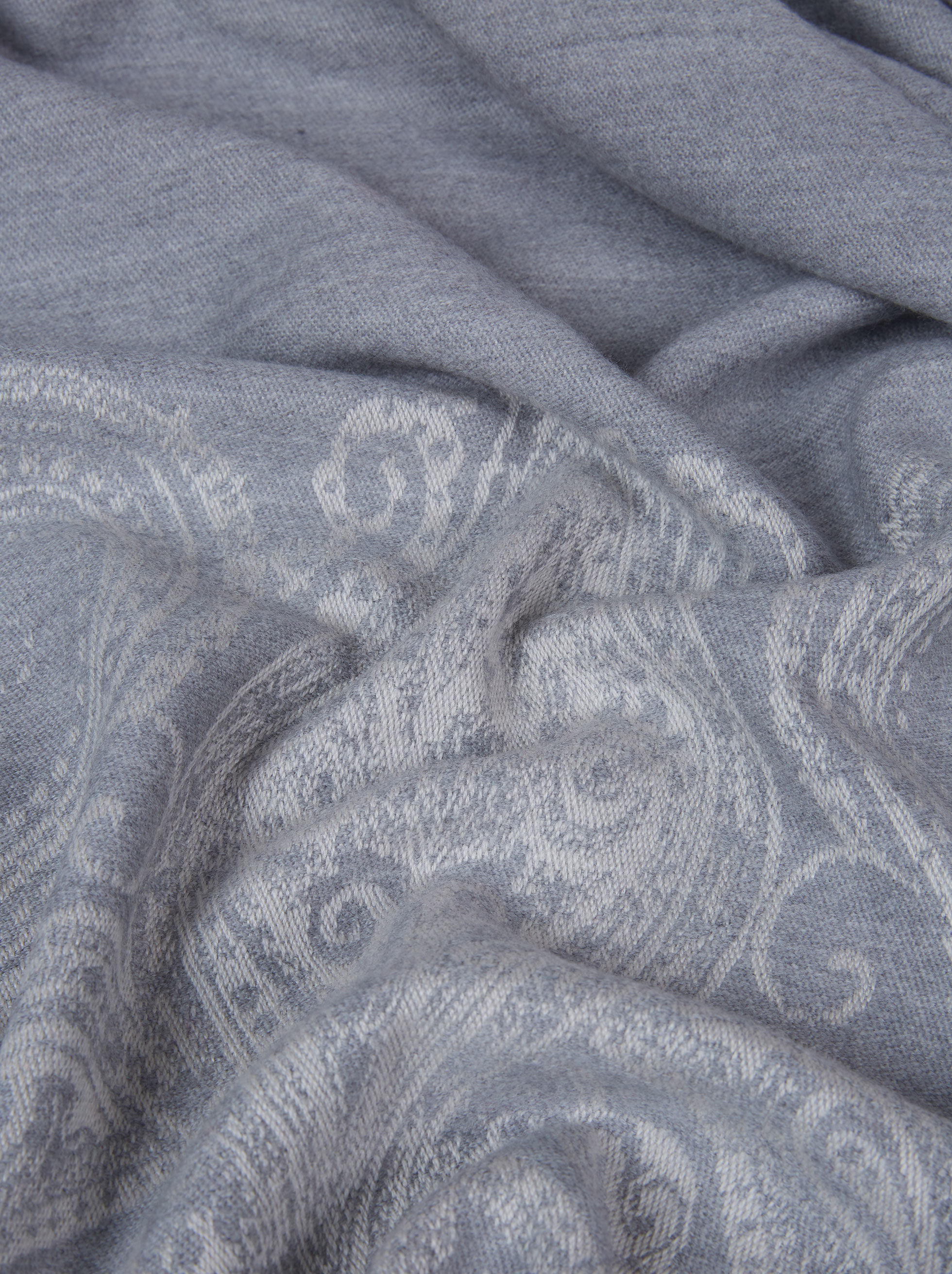 SMALL PAISLEY WOOL JACQUARD BLANKET WITH PEGASO
