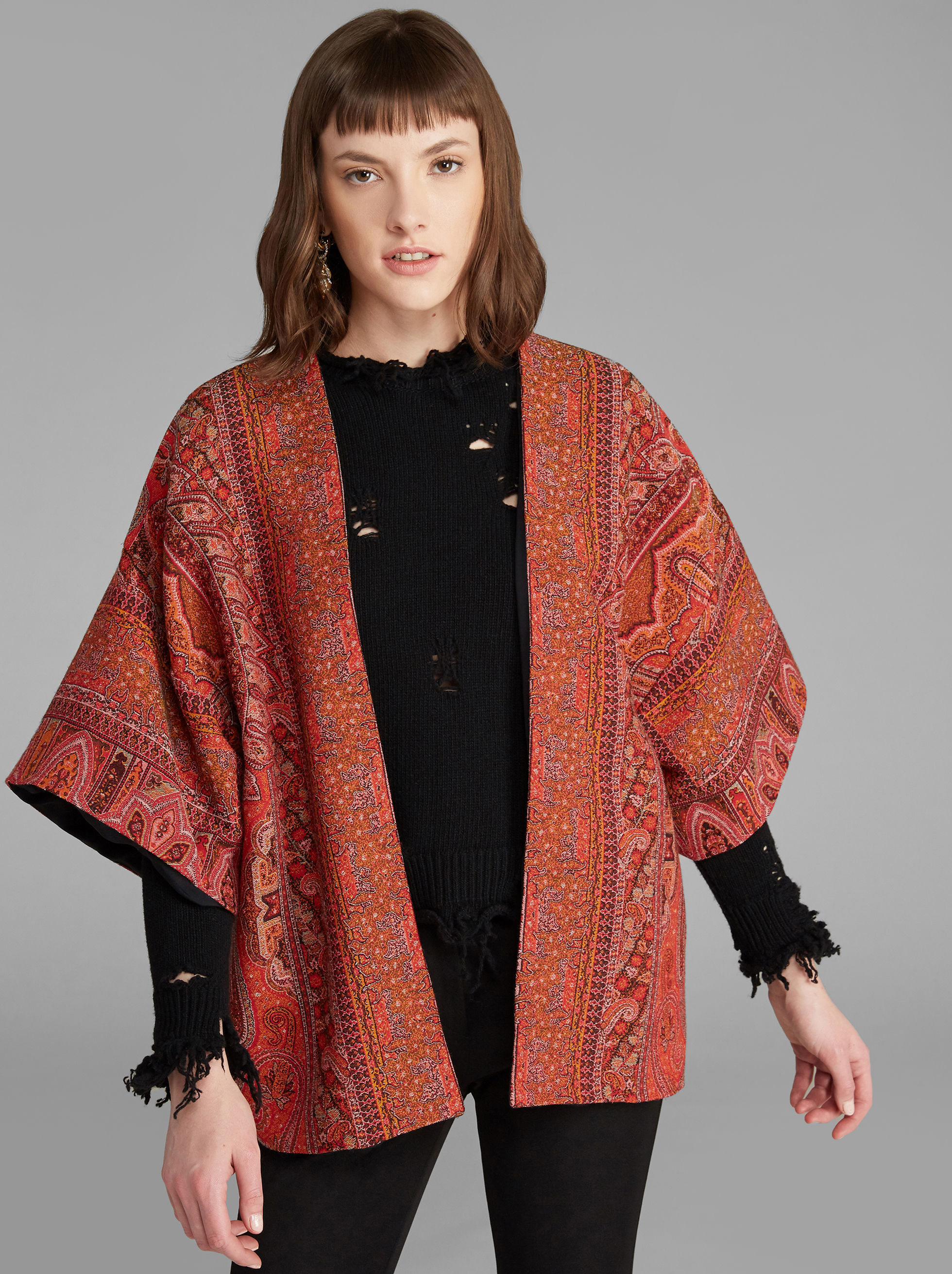 PRINTED WOOL CAPE