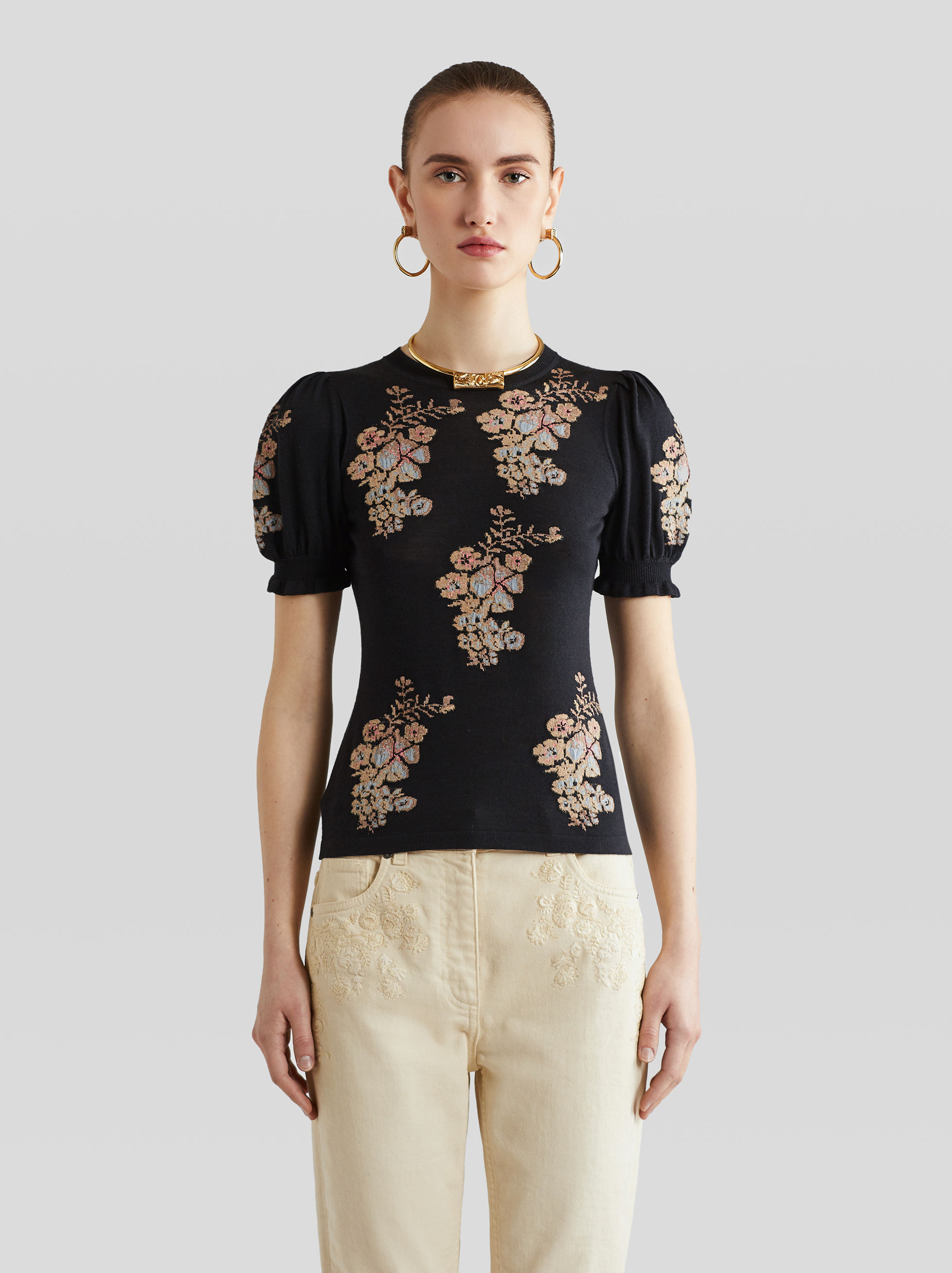 JACQUARD JUMPER WITH FLOWERS