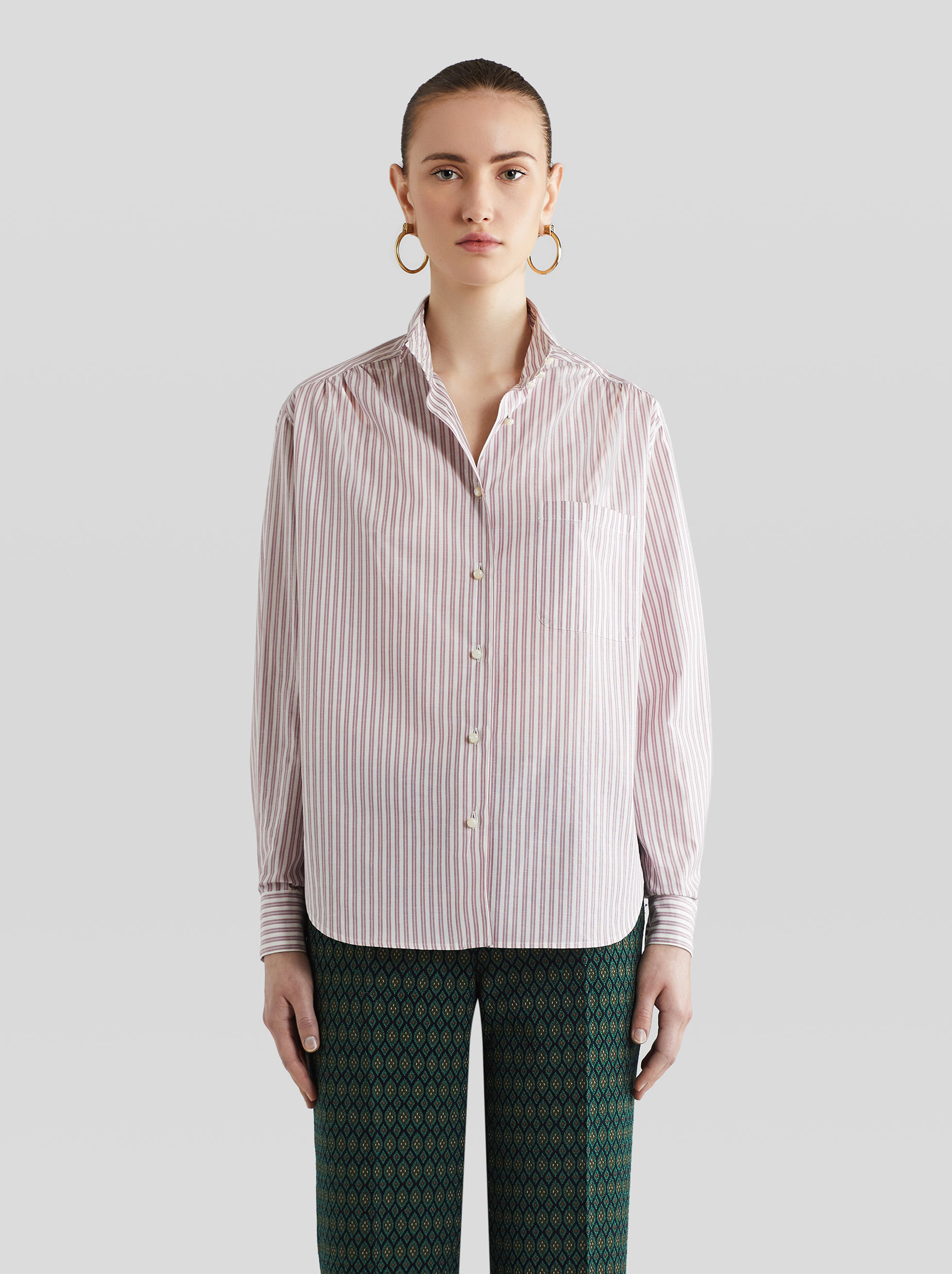 STRIPED COTTON AND SILK SHIRT