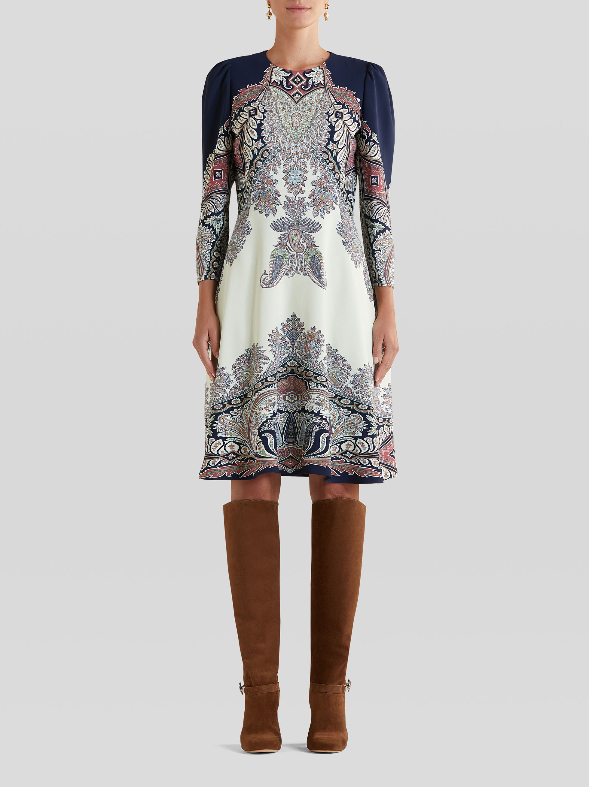 MIDI DRESS WITH FLORAL PAISLEY PRINT