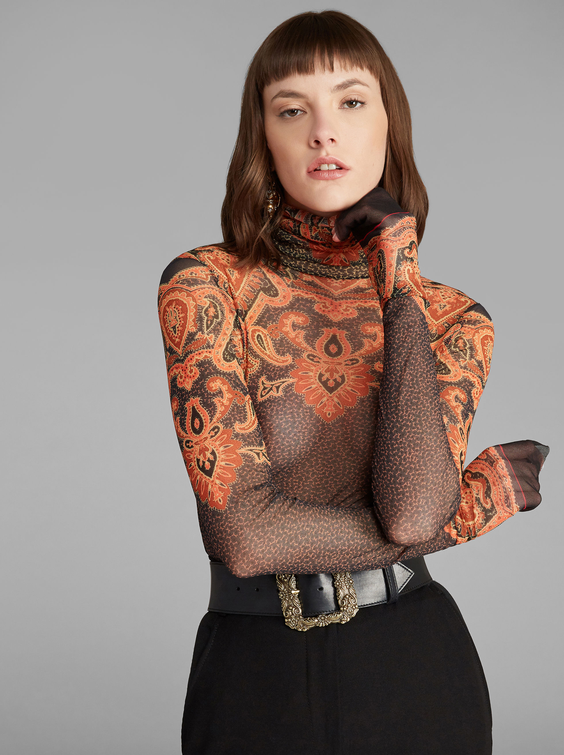 PAISLEY-PRINT JERSEY JUMPER