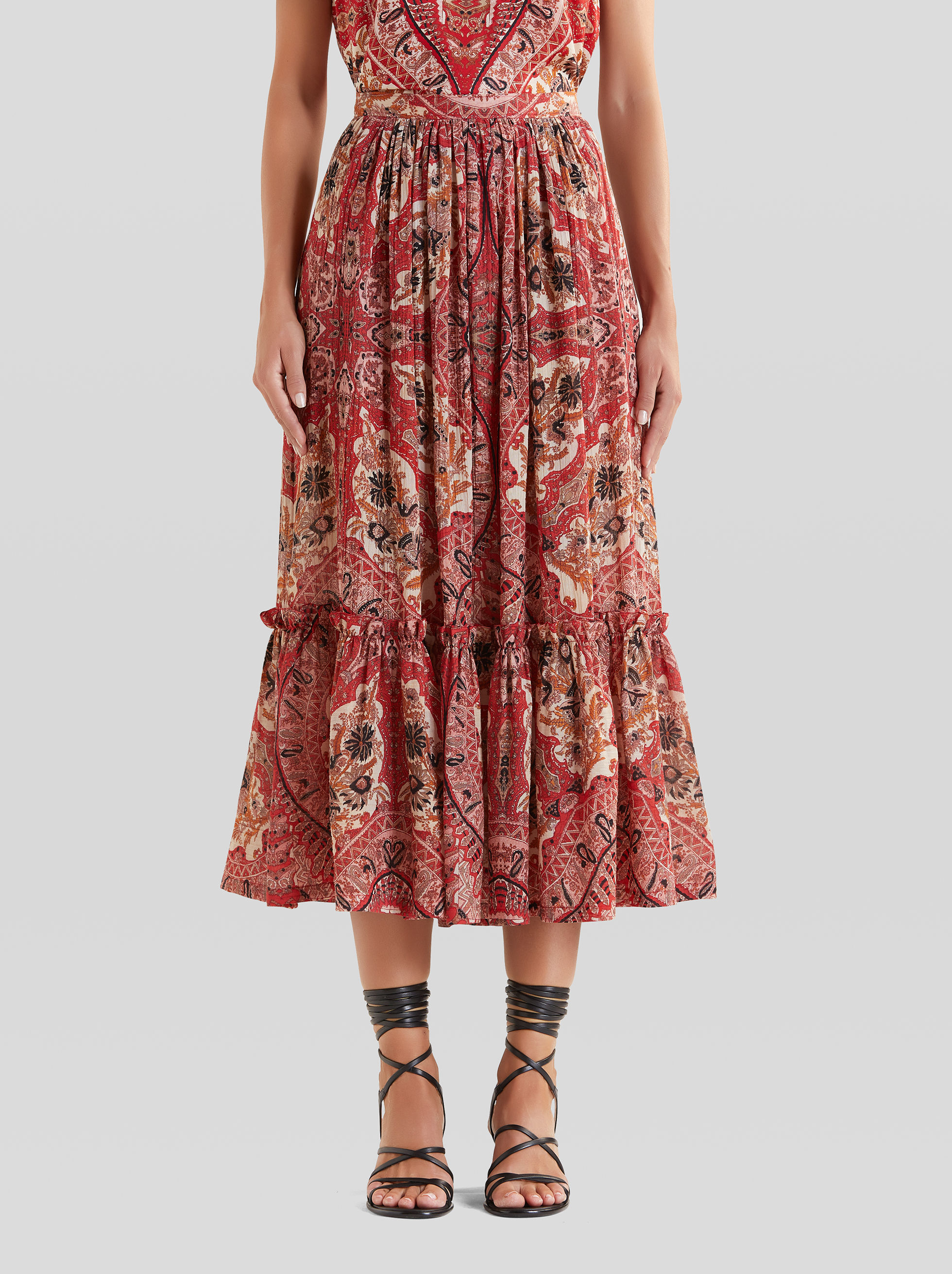 LONG PAISLEY NAÏF PRINT SKIRT