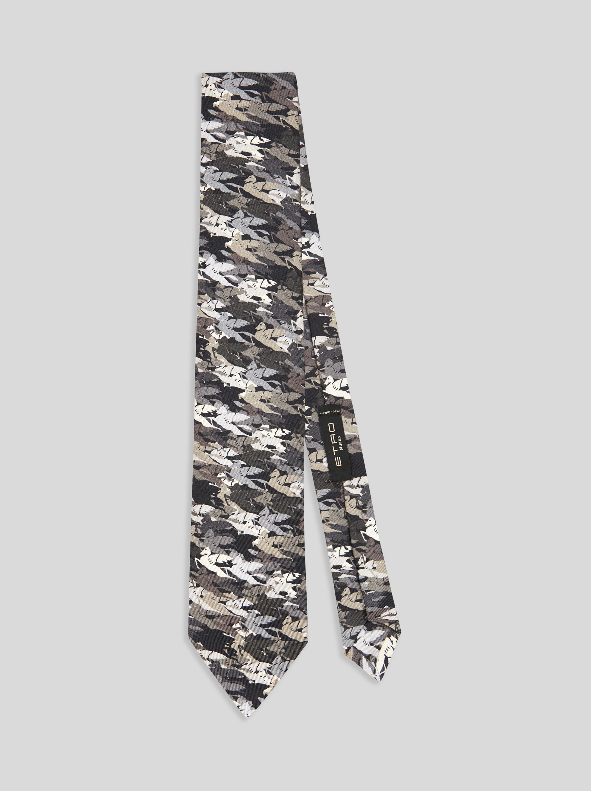 SILK TIE WITH PEGASO PRINT