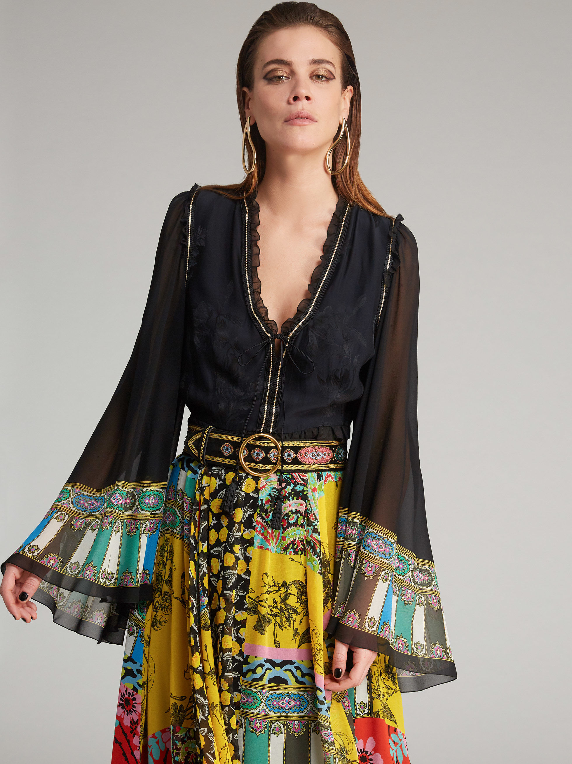 PATCHWORK-PRINT LONG DRESS