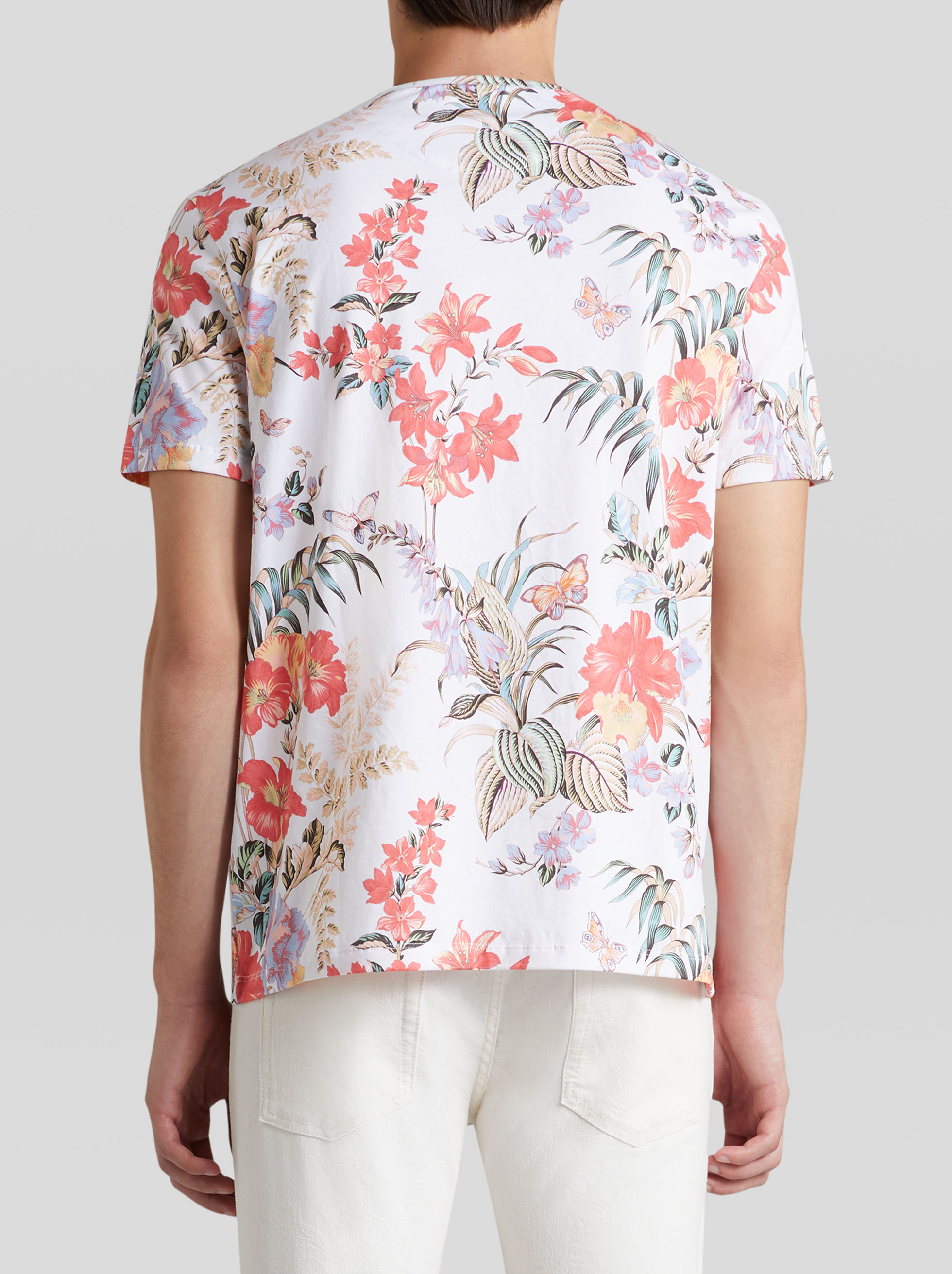 COTTON T-SHIRT WITH FLORAL AND BUTTERFLY PRINT