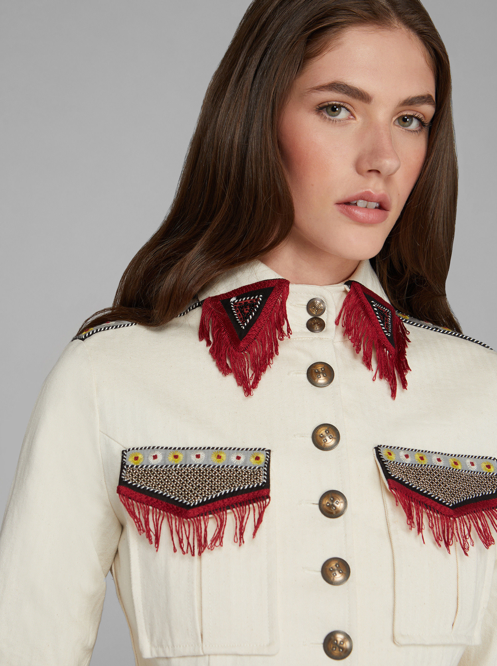 JACQUARD SAFARI JACKET WITH EMBROIDERY