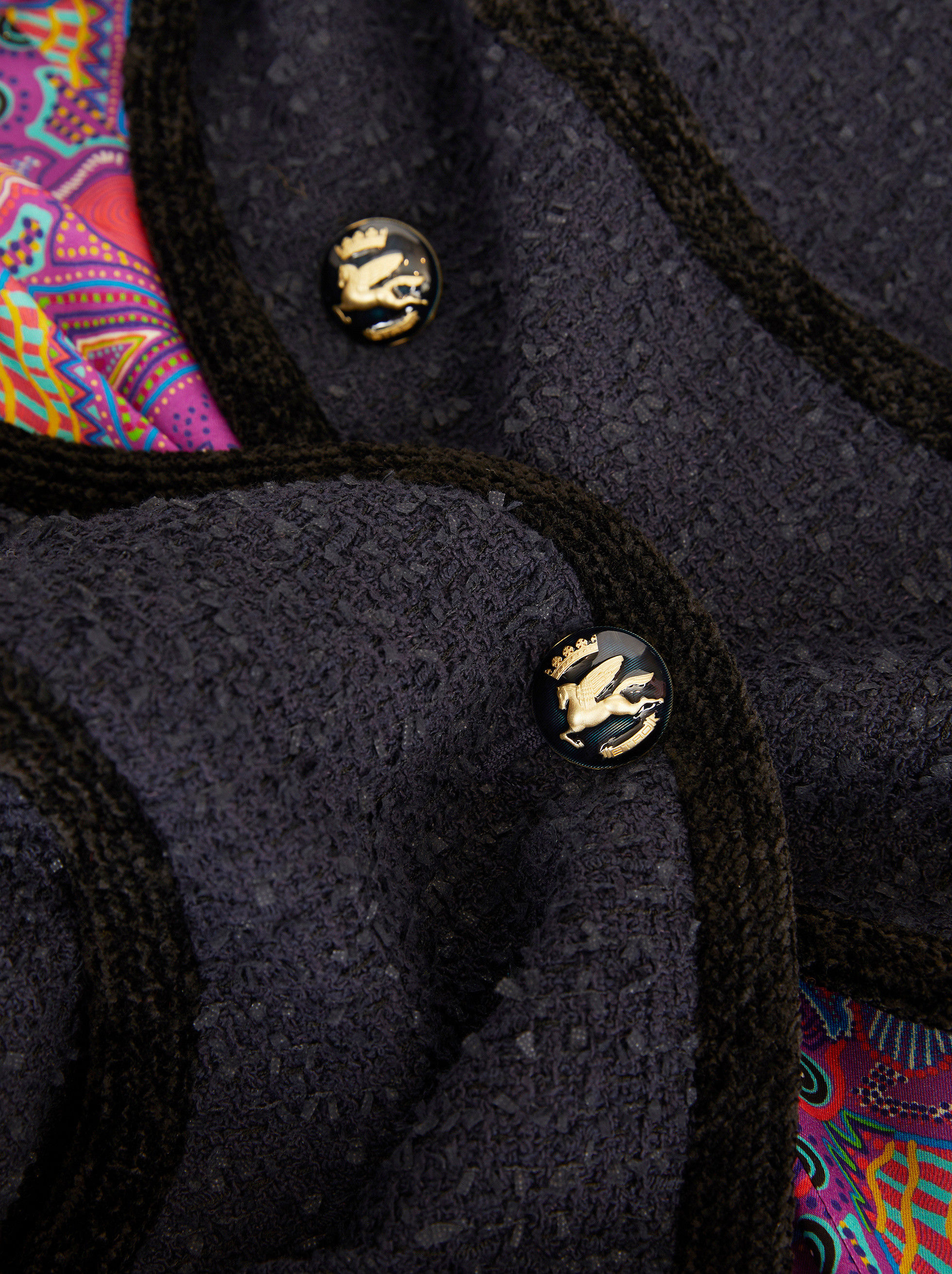 FRISÉ COAT WITH PEGASO BUTTONS