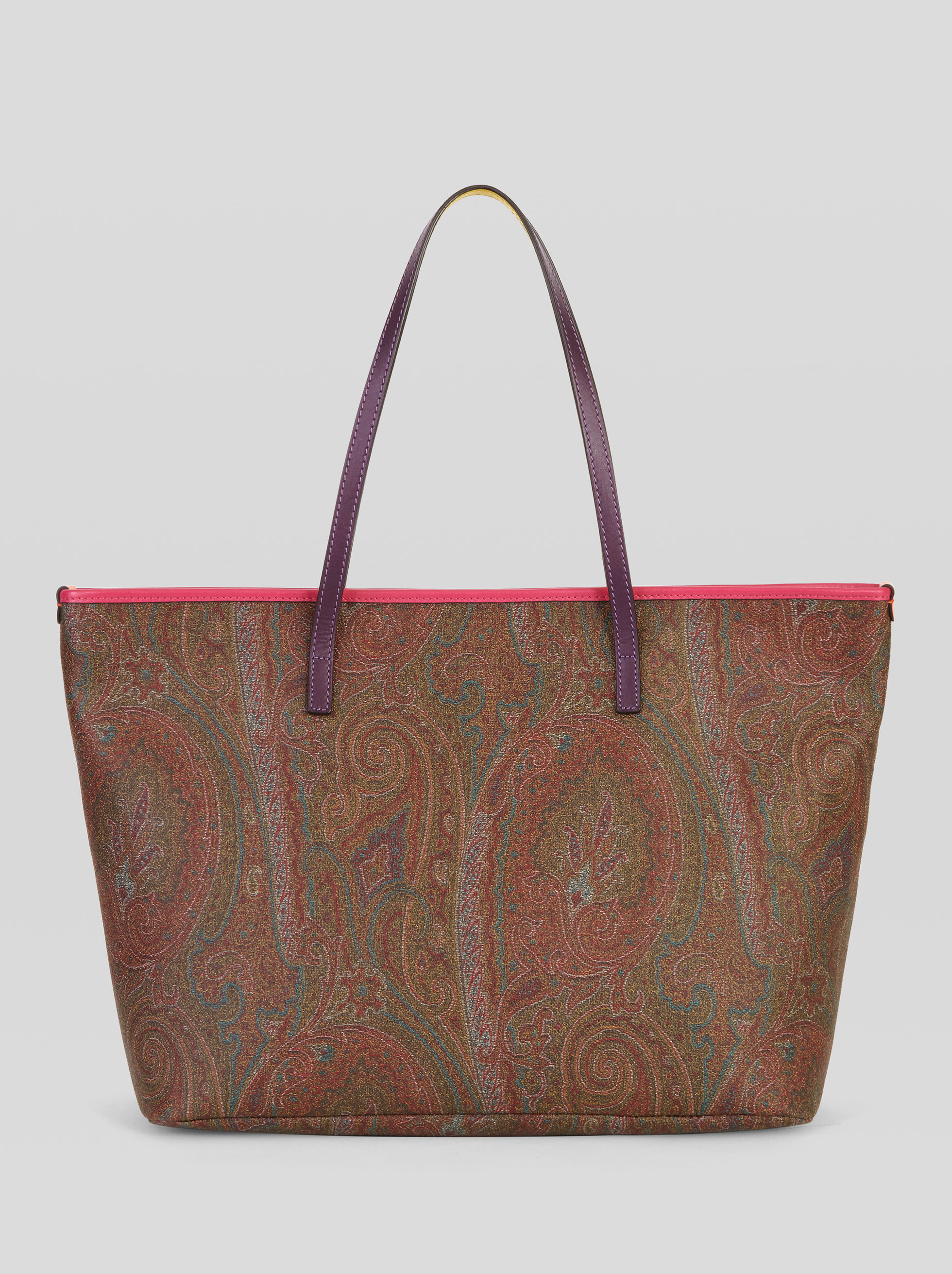 PAISLEY TOTE BAG WITH MULTICOLORED DETAILS