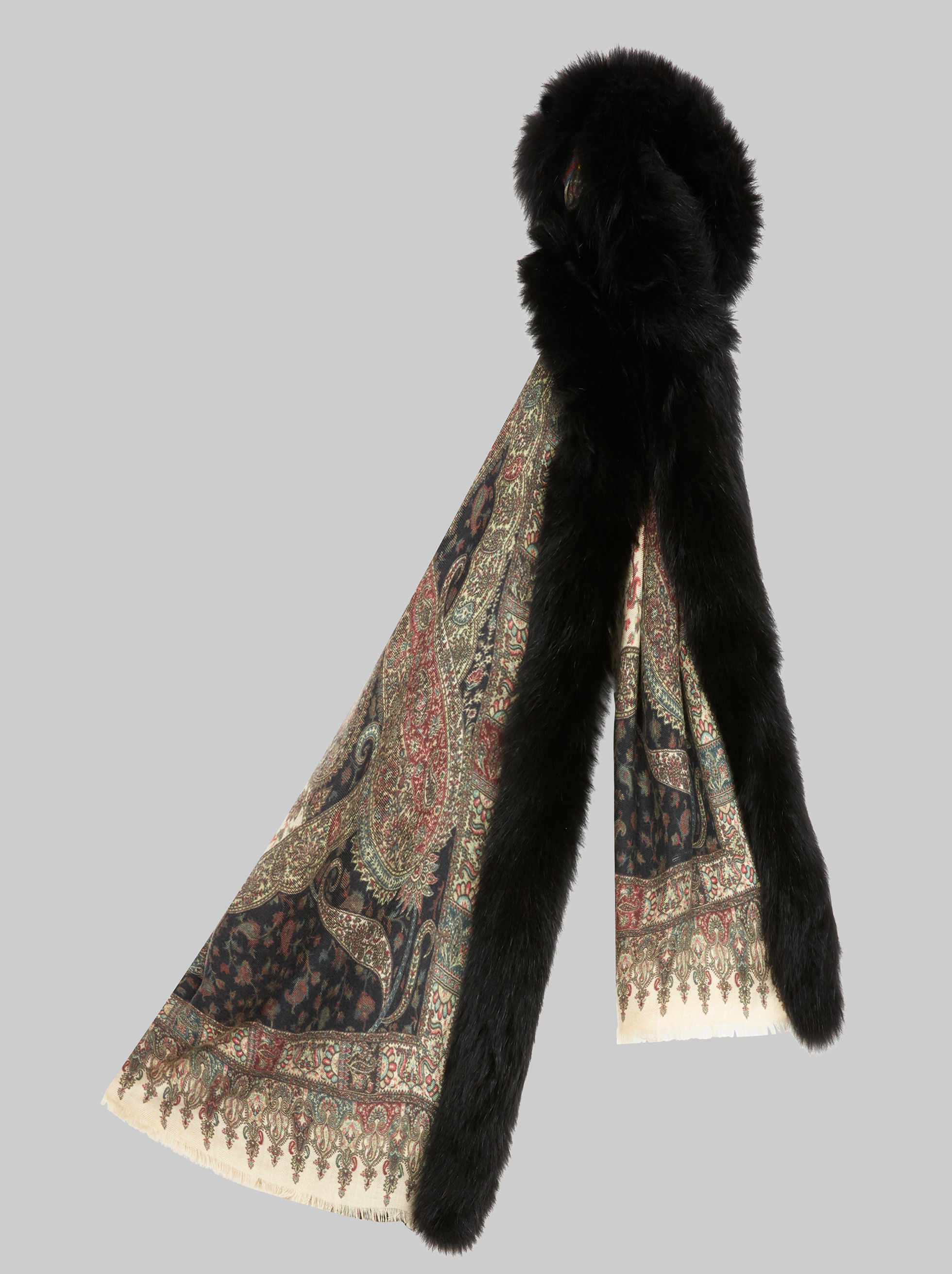 PAISLEY-PRINT SCARF WITH FUR TRIM