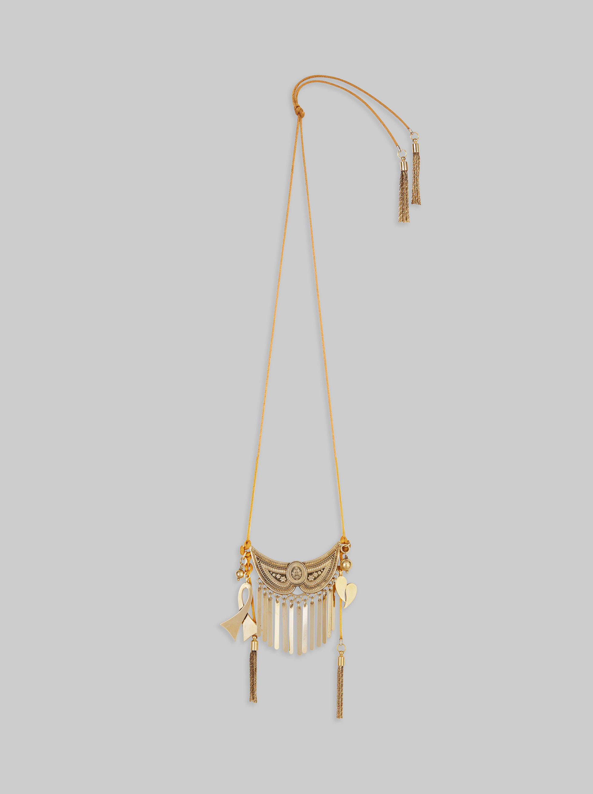 NECKLACE WITH CHARMS AND FRINGE
