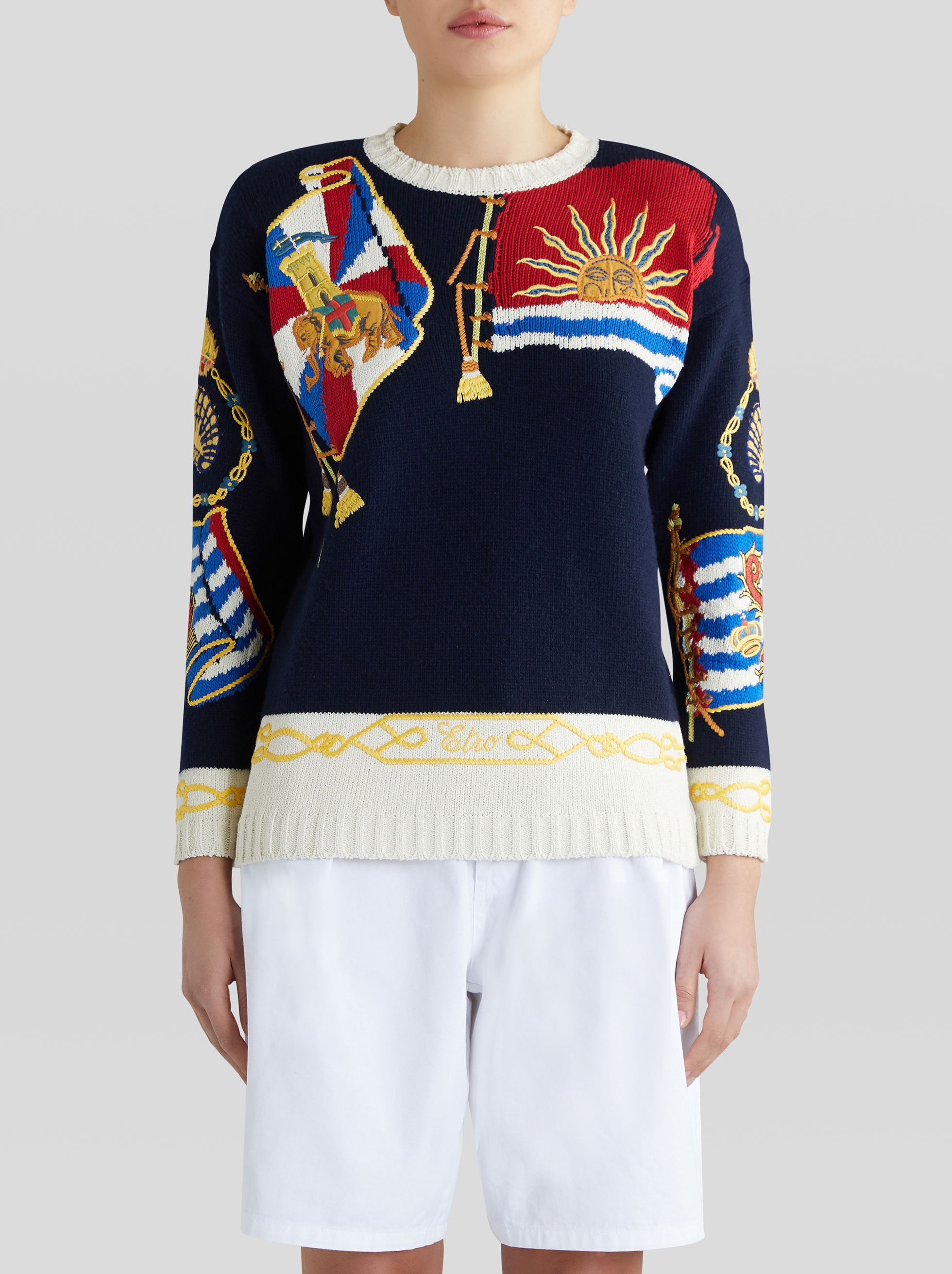 WOOL AND COTTON JUMPER WITH EMBROIDERED PEGASO