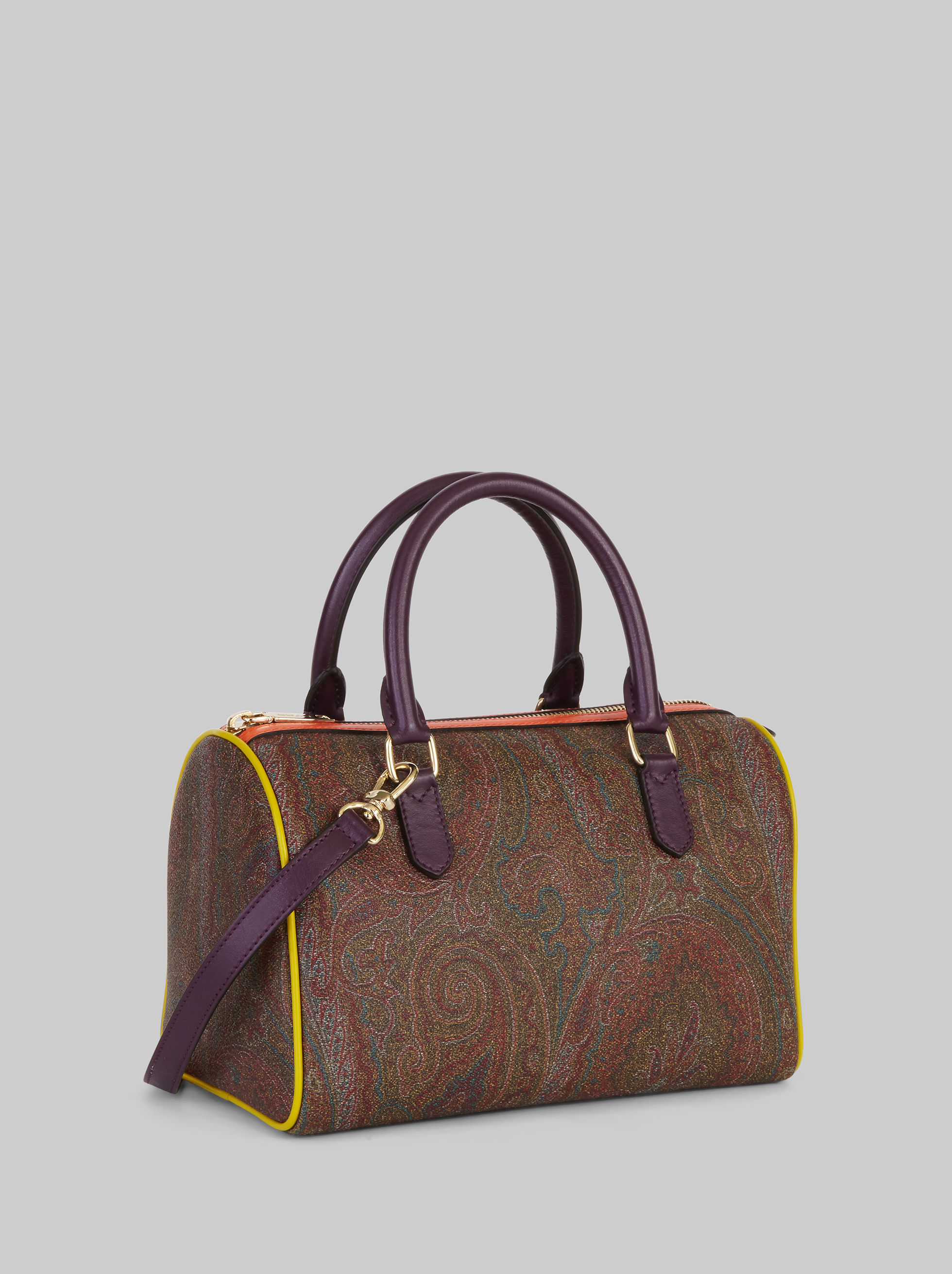 PAISLEY BOSTON BAG WITH MULTICOLOURED DETAILING