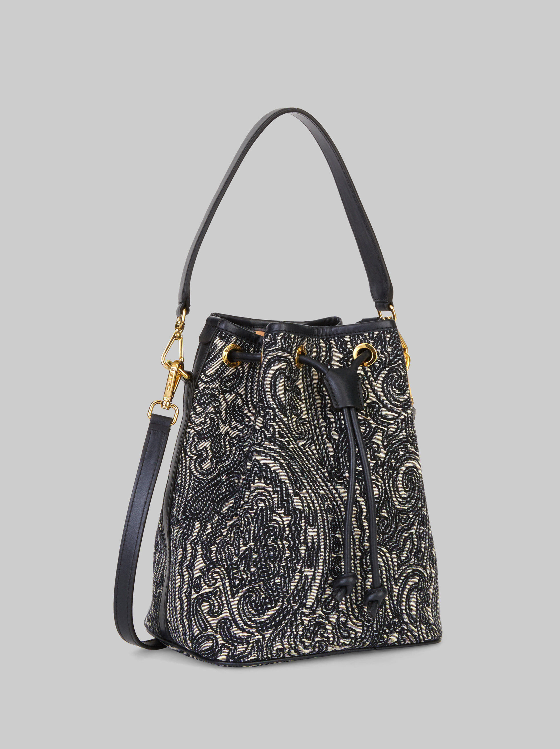JACQUARD FABRIC BUCKET BAG