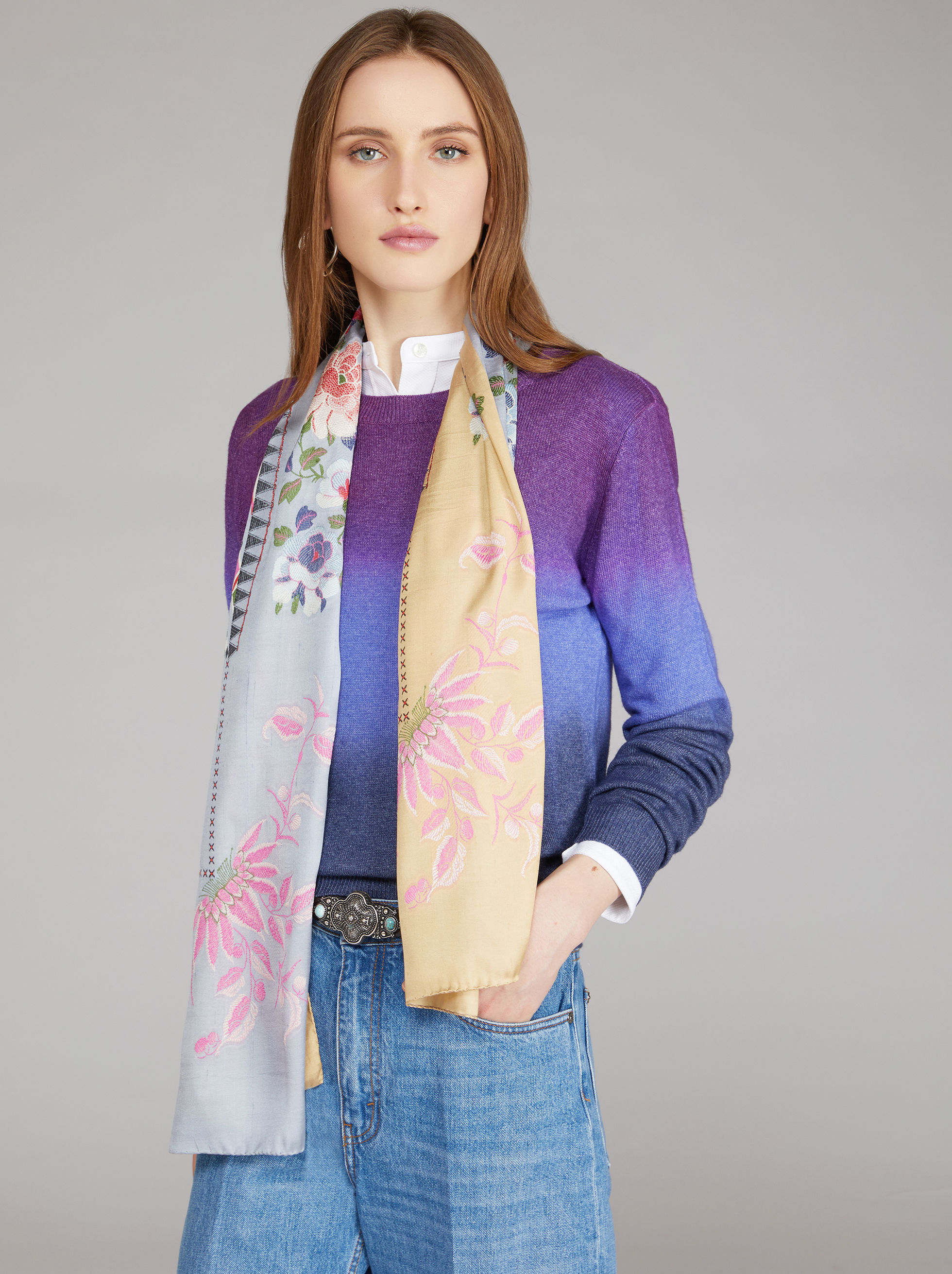 JACQUARD SCARF WITH LUREX