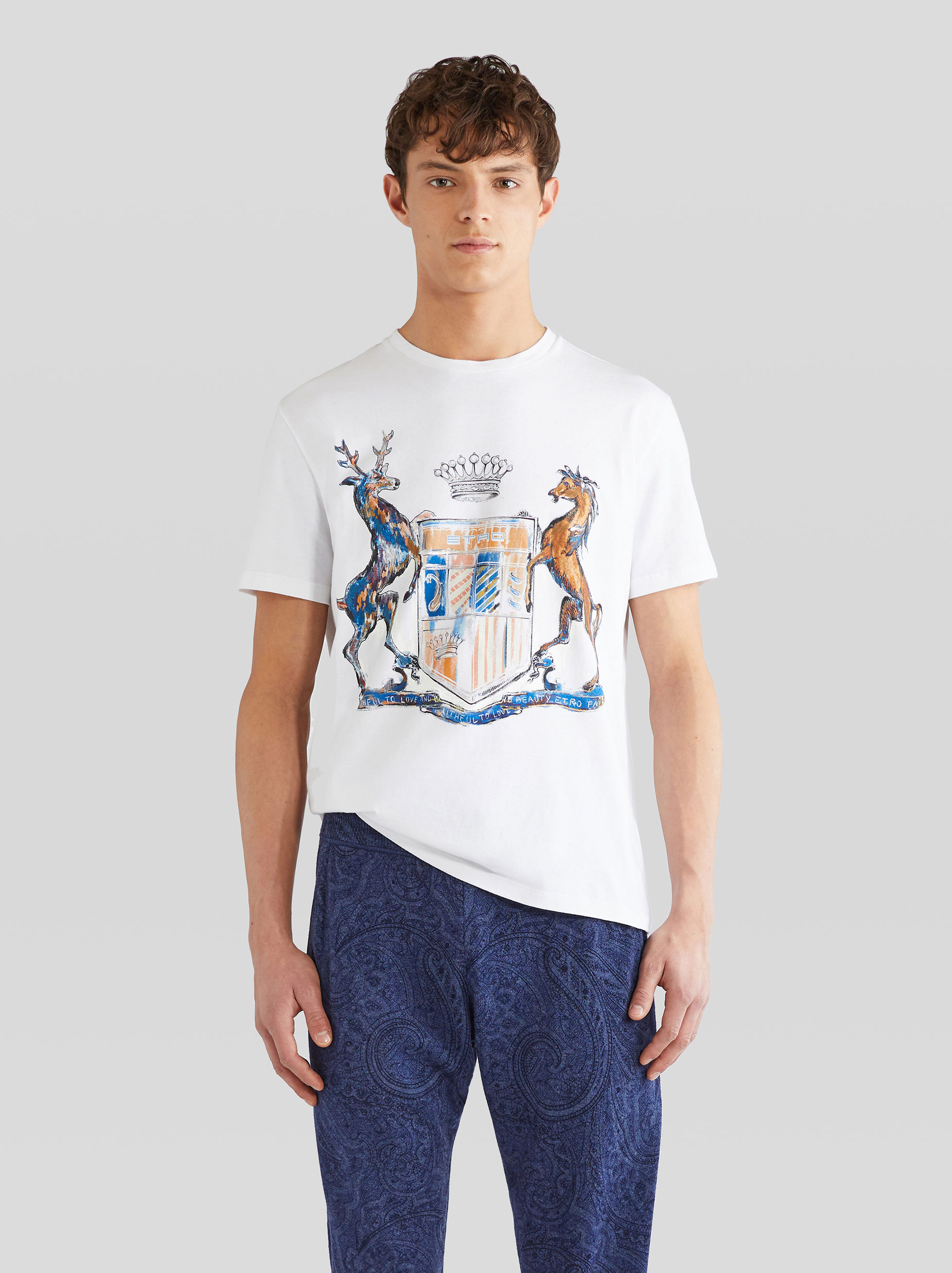COTTON T-SHIRT WITH HERALDIC PRINT
