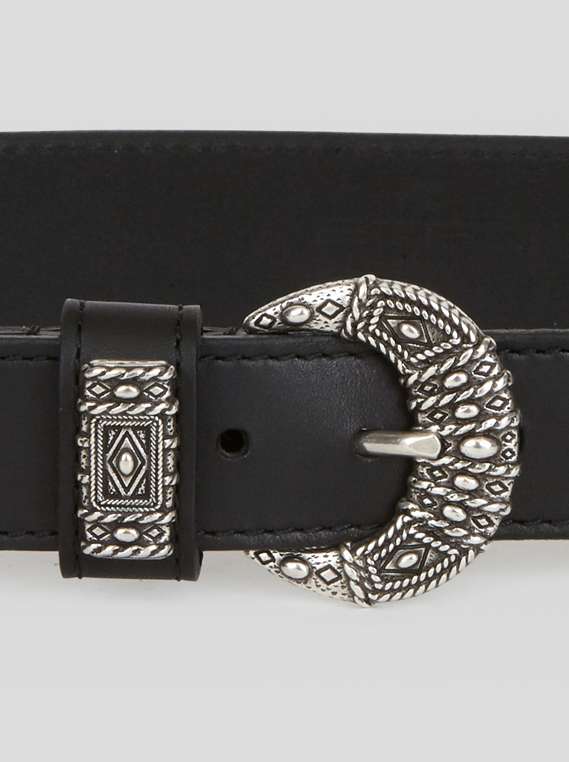 LEATHER BELT WITH MOTHER-OF-PEARL DETAILS